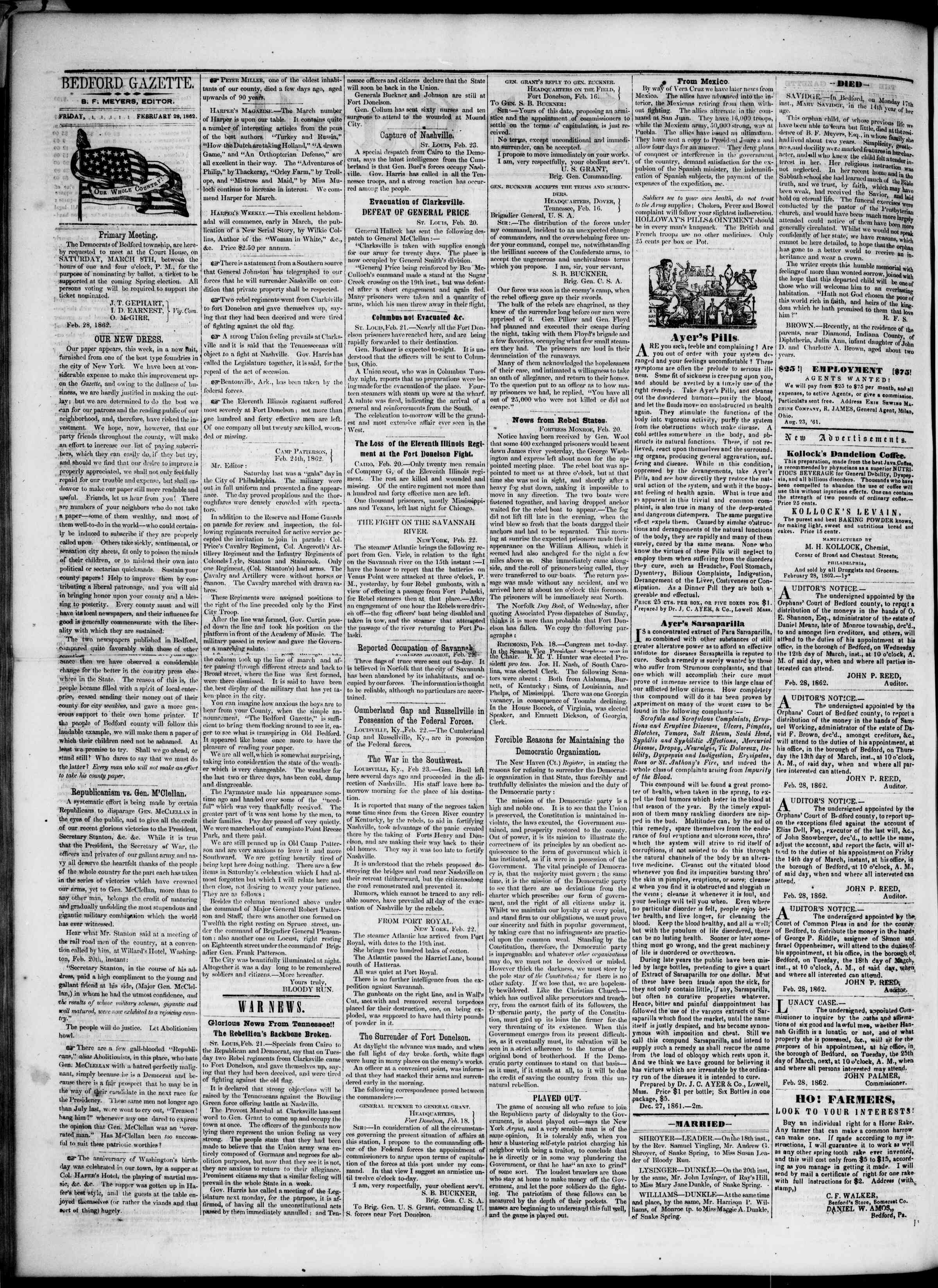 Newspaper of Bedford Gazette dated February 28, 1862 Page 2