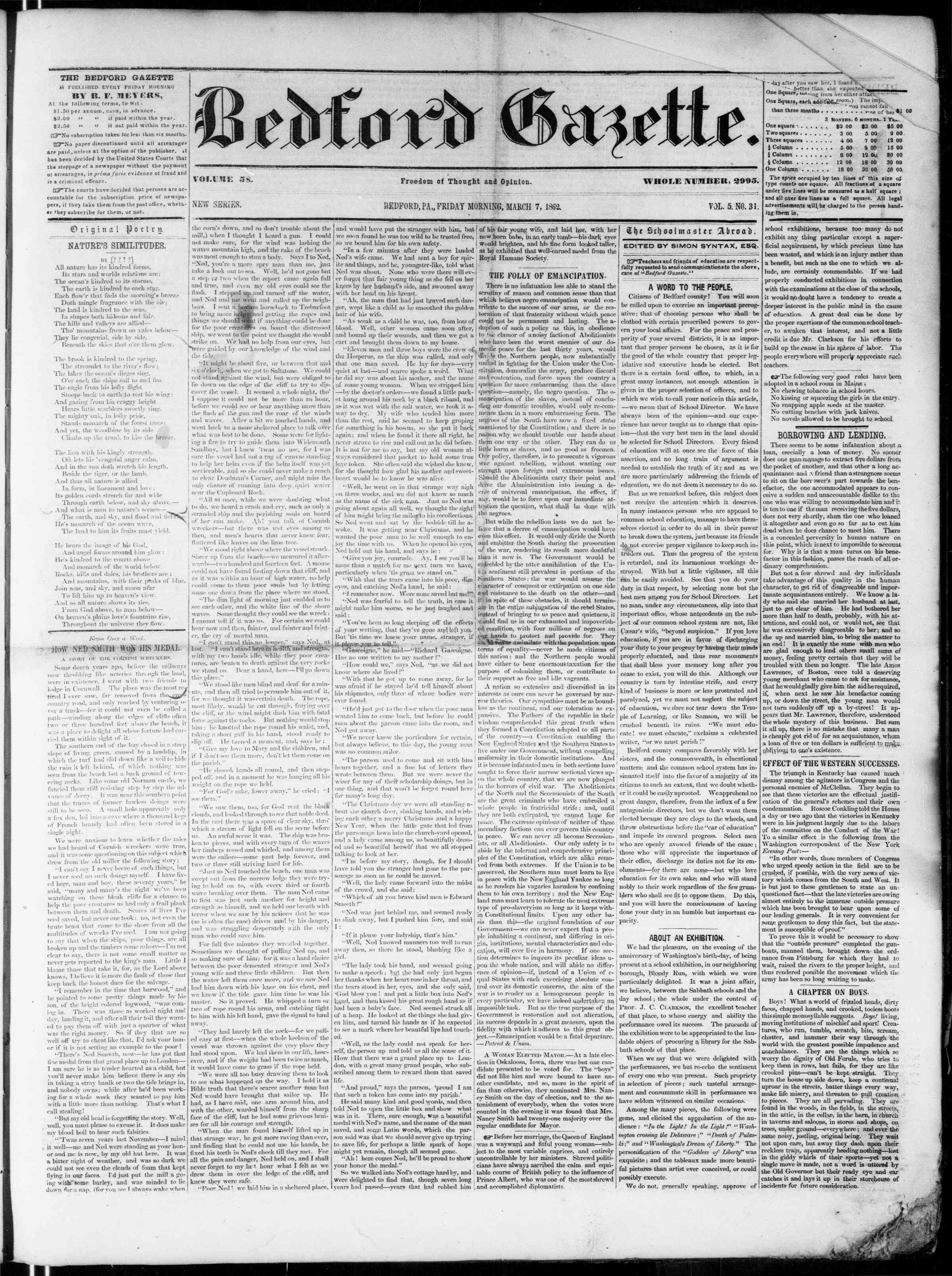 Newspaper of Bedford Gazette dated March 7, 1862 Page 1