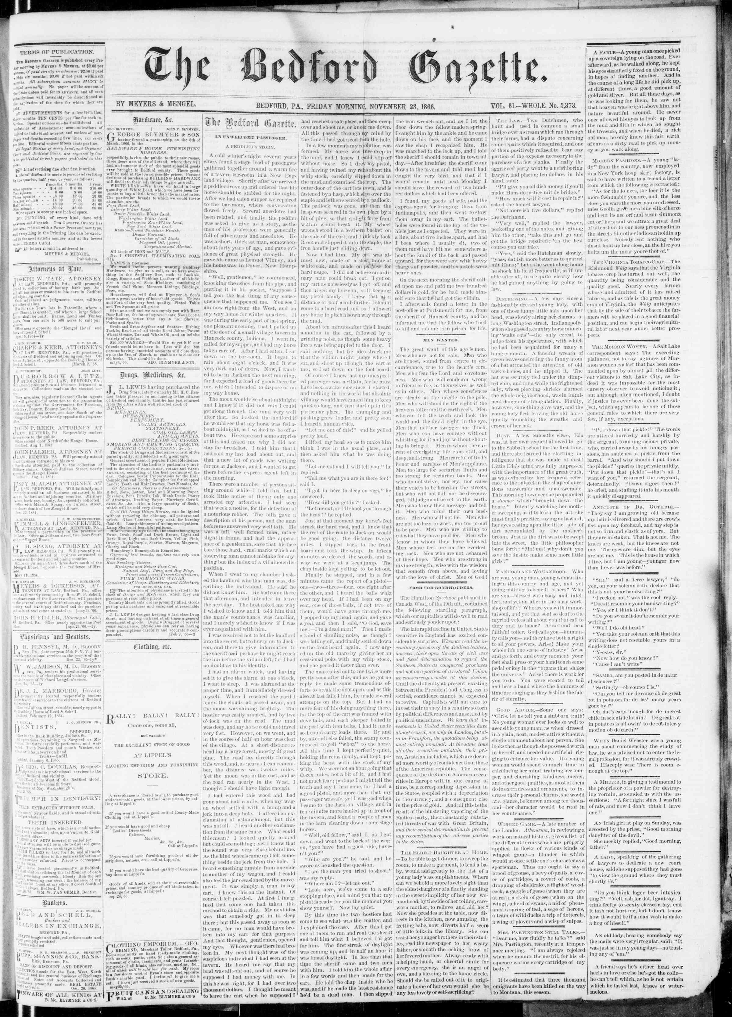 Newspaper of Bedford Gazette dated November 23, 1866 Page 1