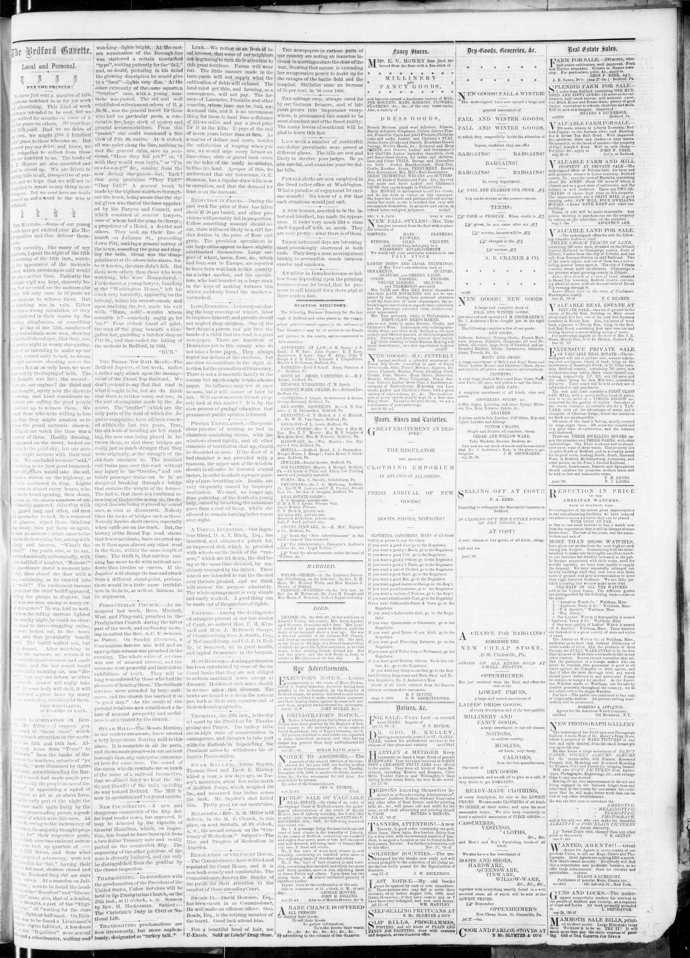 Newspaper of Bedford Gazette dated November 23, 1866 Page 3