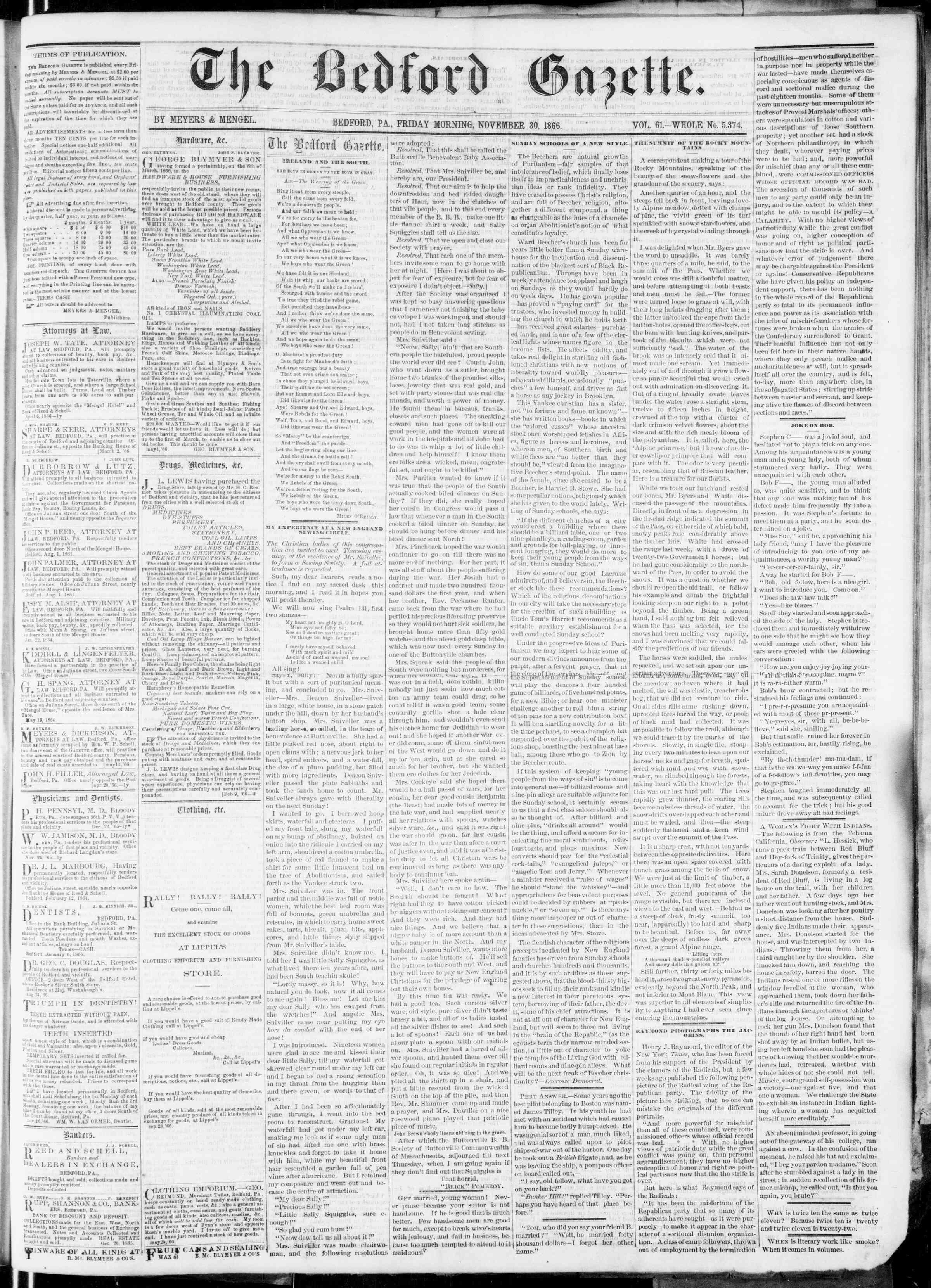 Newspaper of Bedford Gazette dated November 30, 1866 Page 1