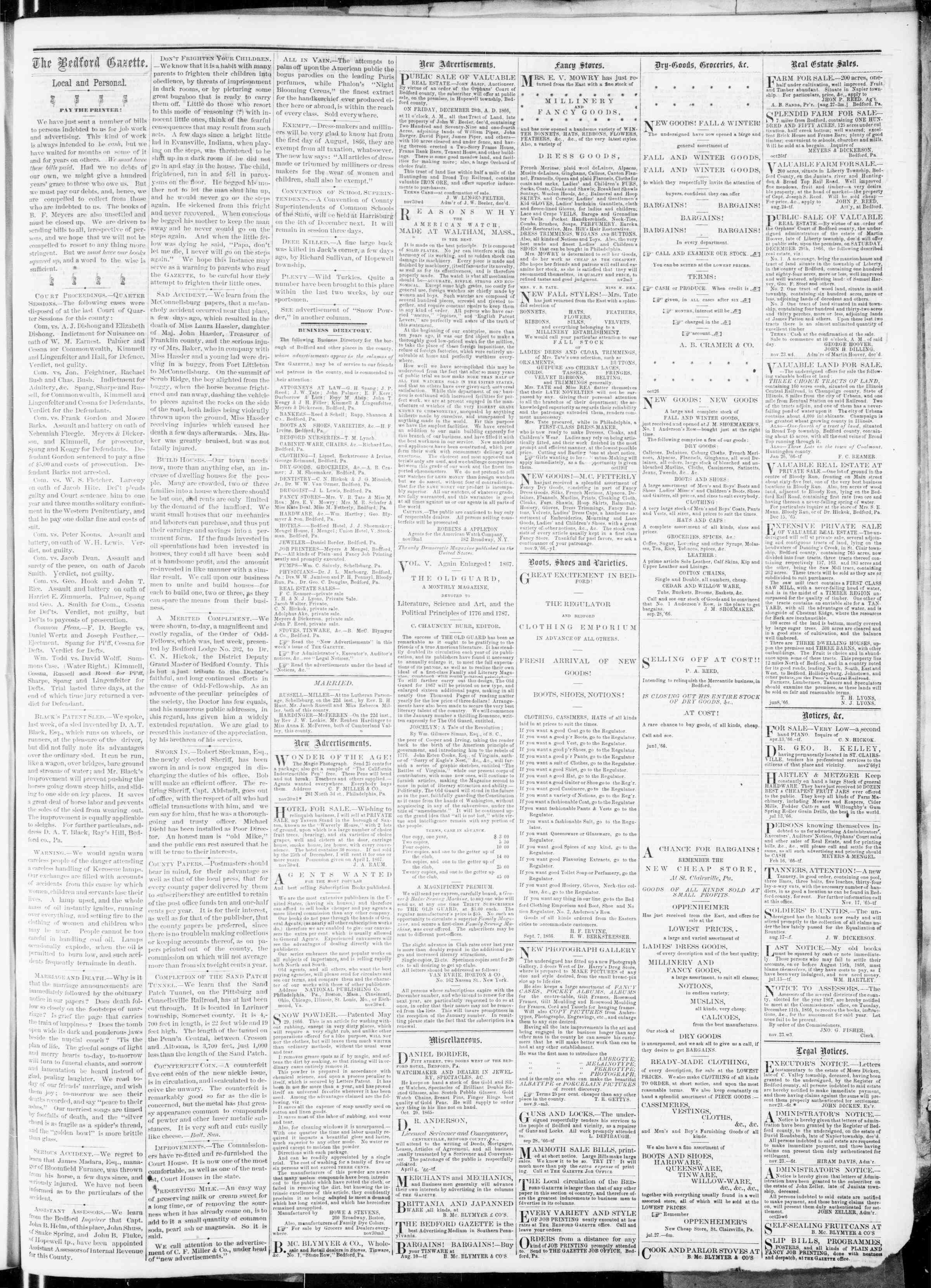 Newspaper of Bedford Gazette dated November 30, 1866 Page 3