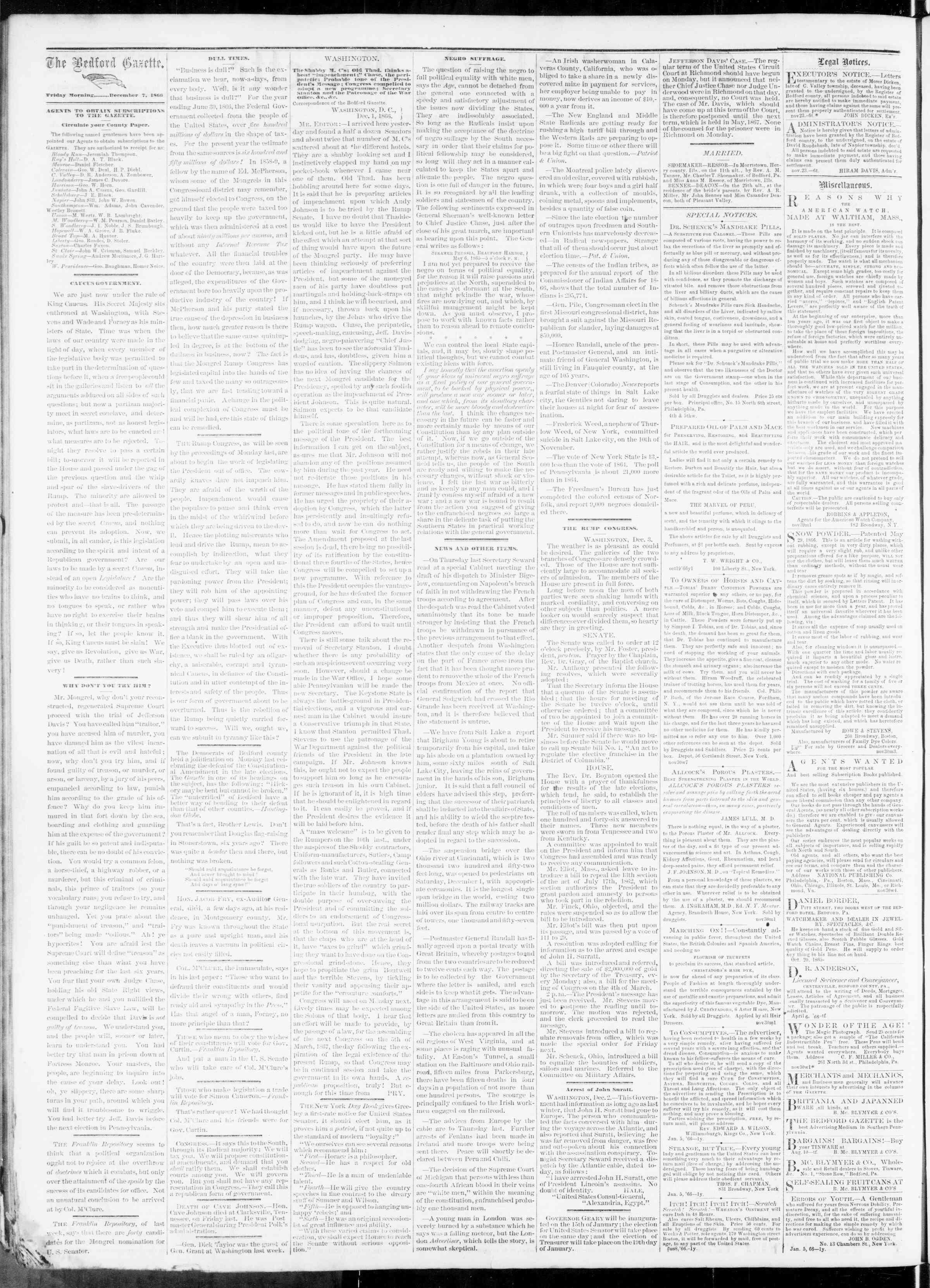Newspaper of Bedford Gazette dated December 7, 1866 Page 2