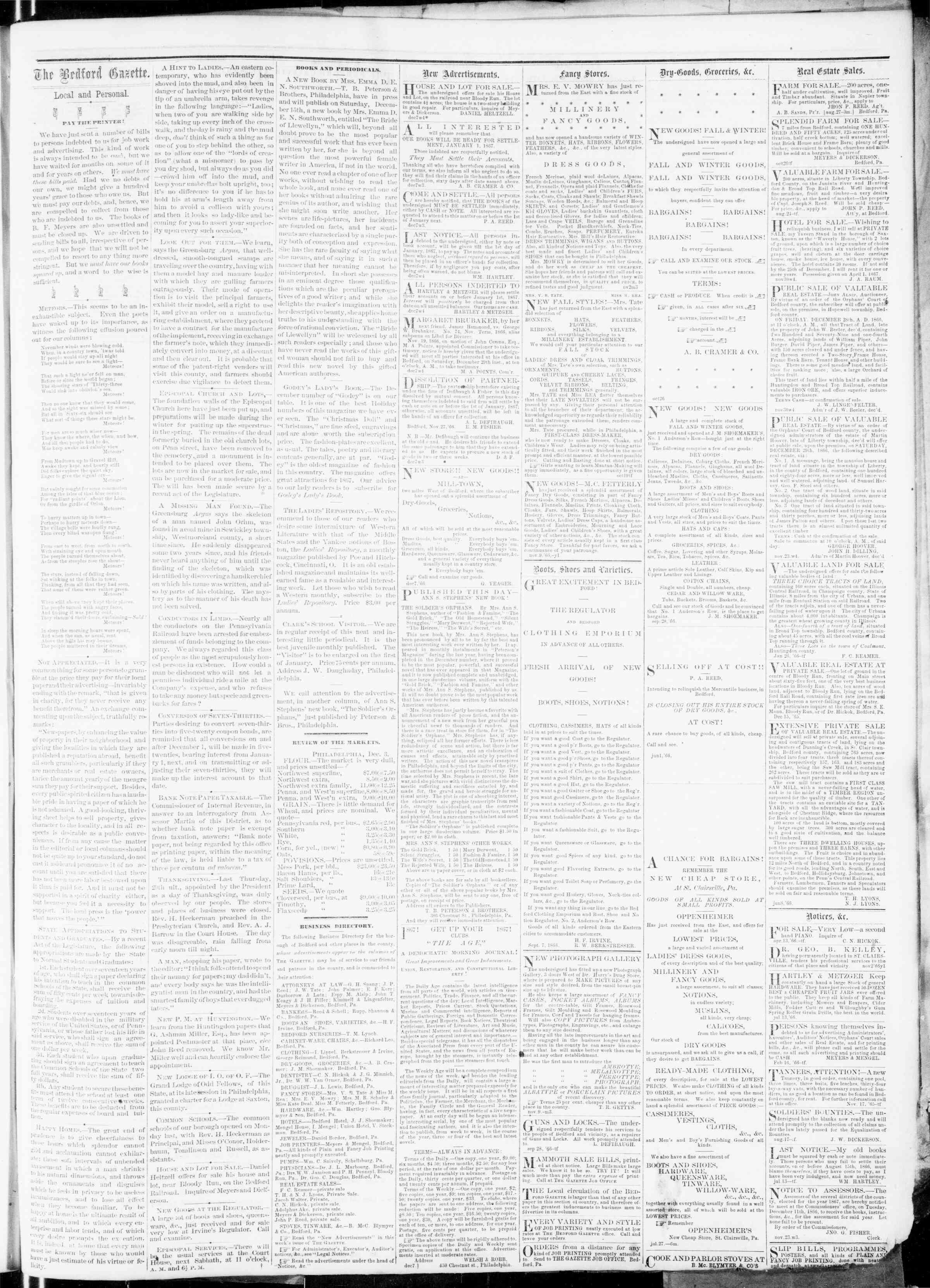 Newspaper of Bedford Gazette dated December 7, 1866 Page 3