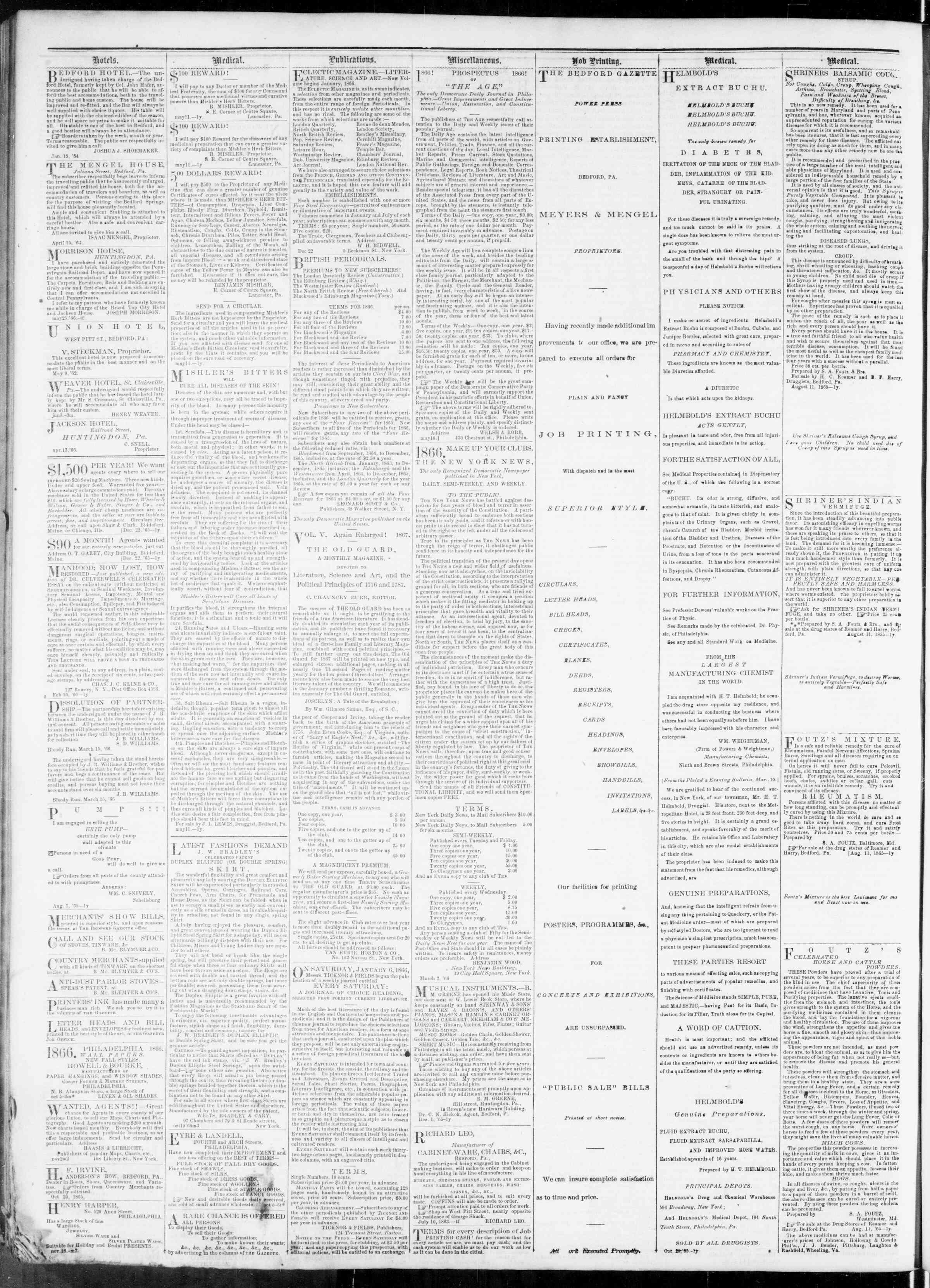 Newspaper of Bedford Gazette dated December 7, 1866 Page 4