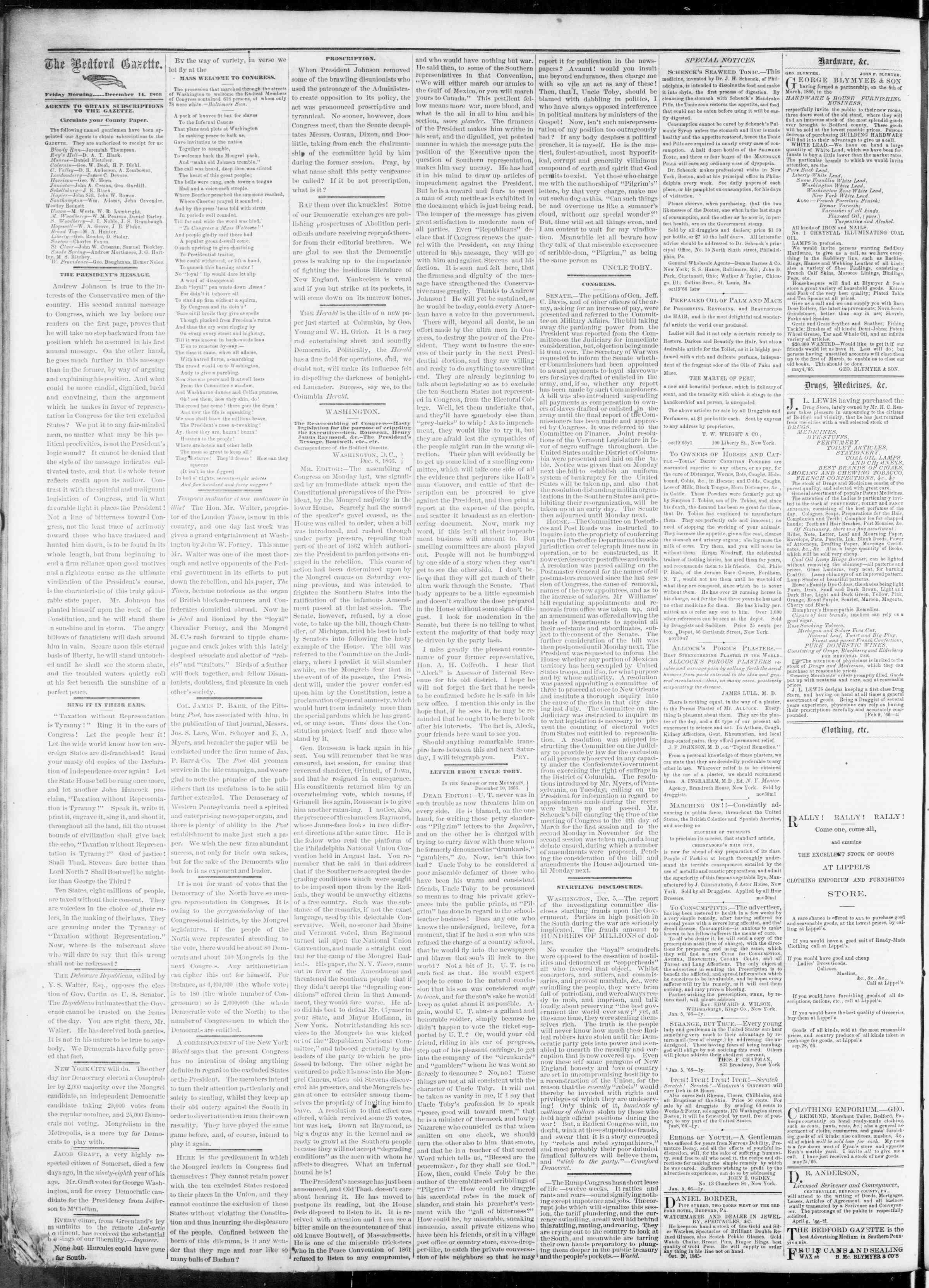 Newspaper of Bedford Gazette dated December 14, 1866 Page 2