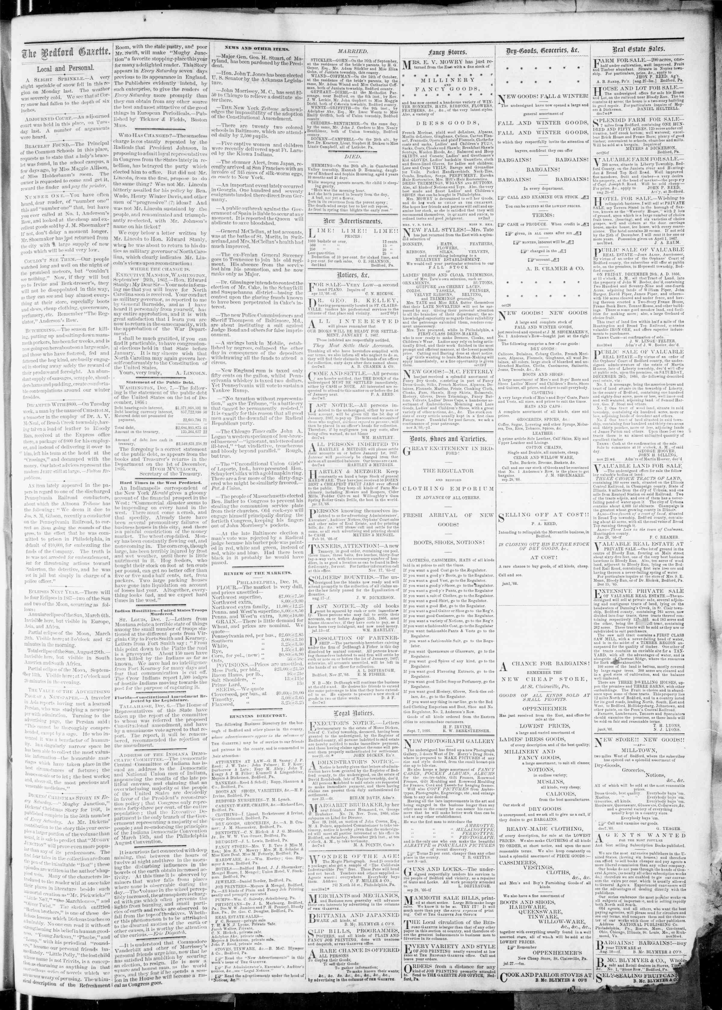 Newspaper of Bedford Gazette dated December 14, 1866 Page 3