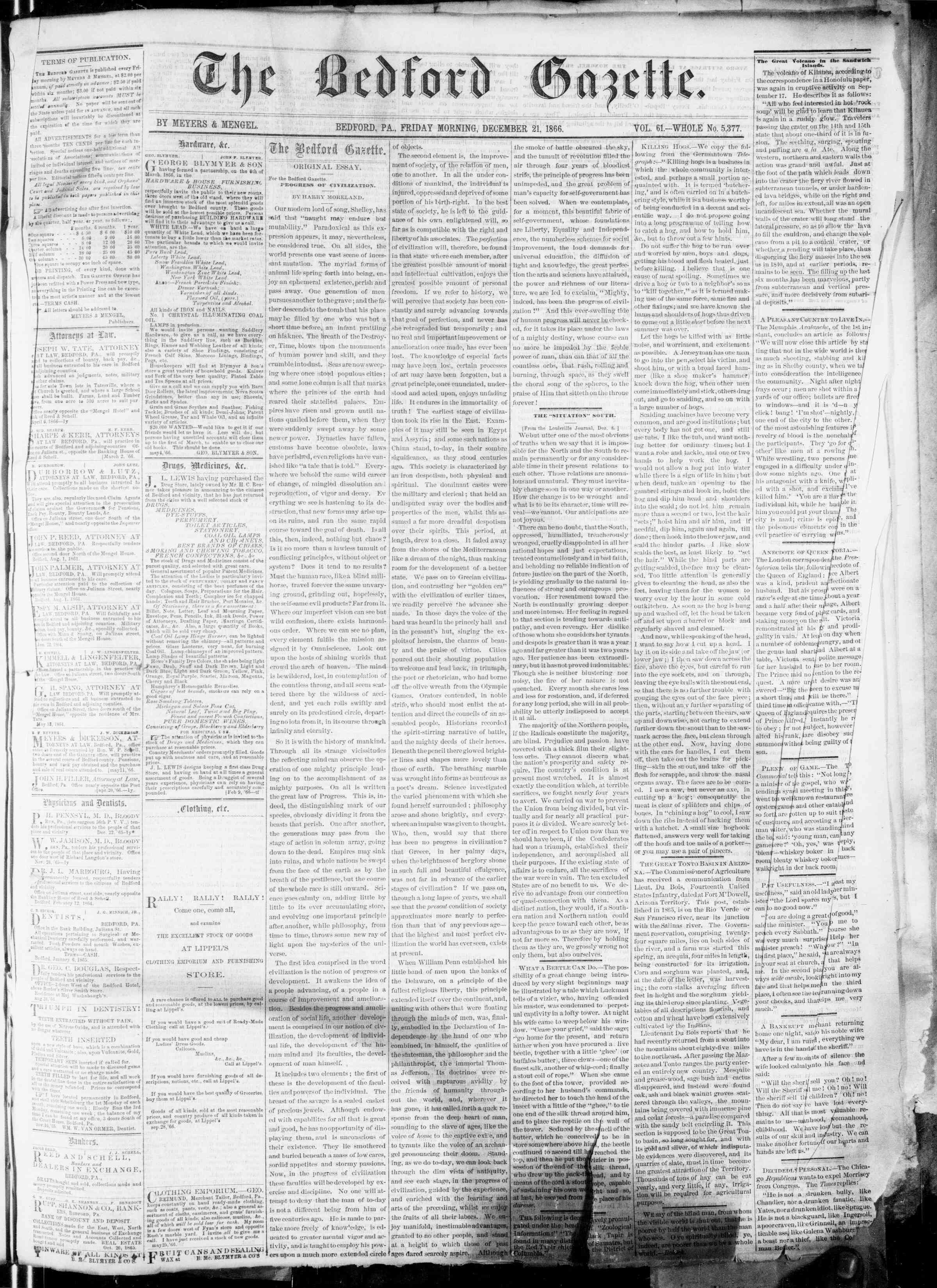 Newspaper of Bedford Gazette dated December 21, 1866 Page 1