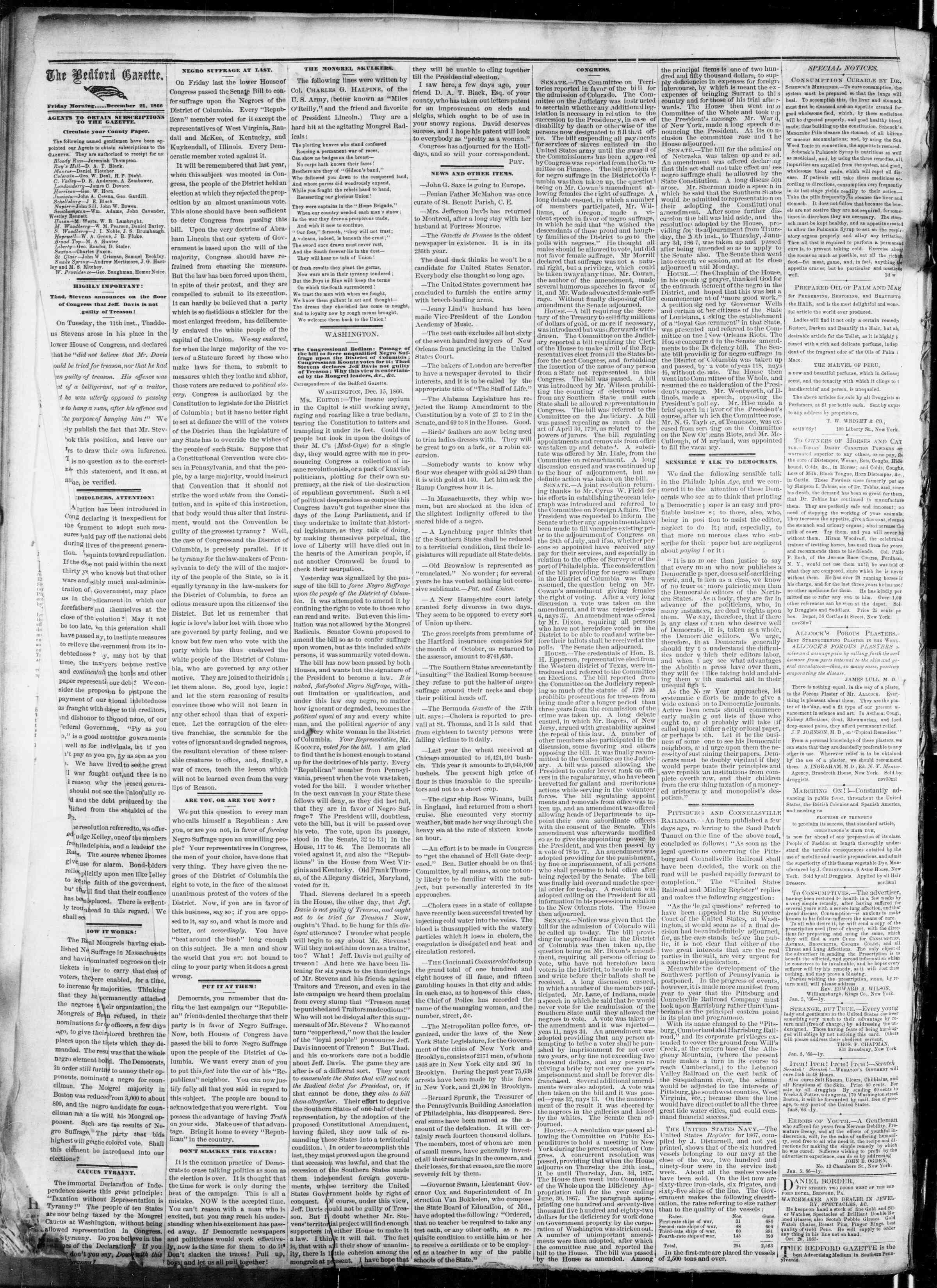 Newspaper of Bedford Gazette dated December 21, 1866 Page 2