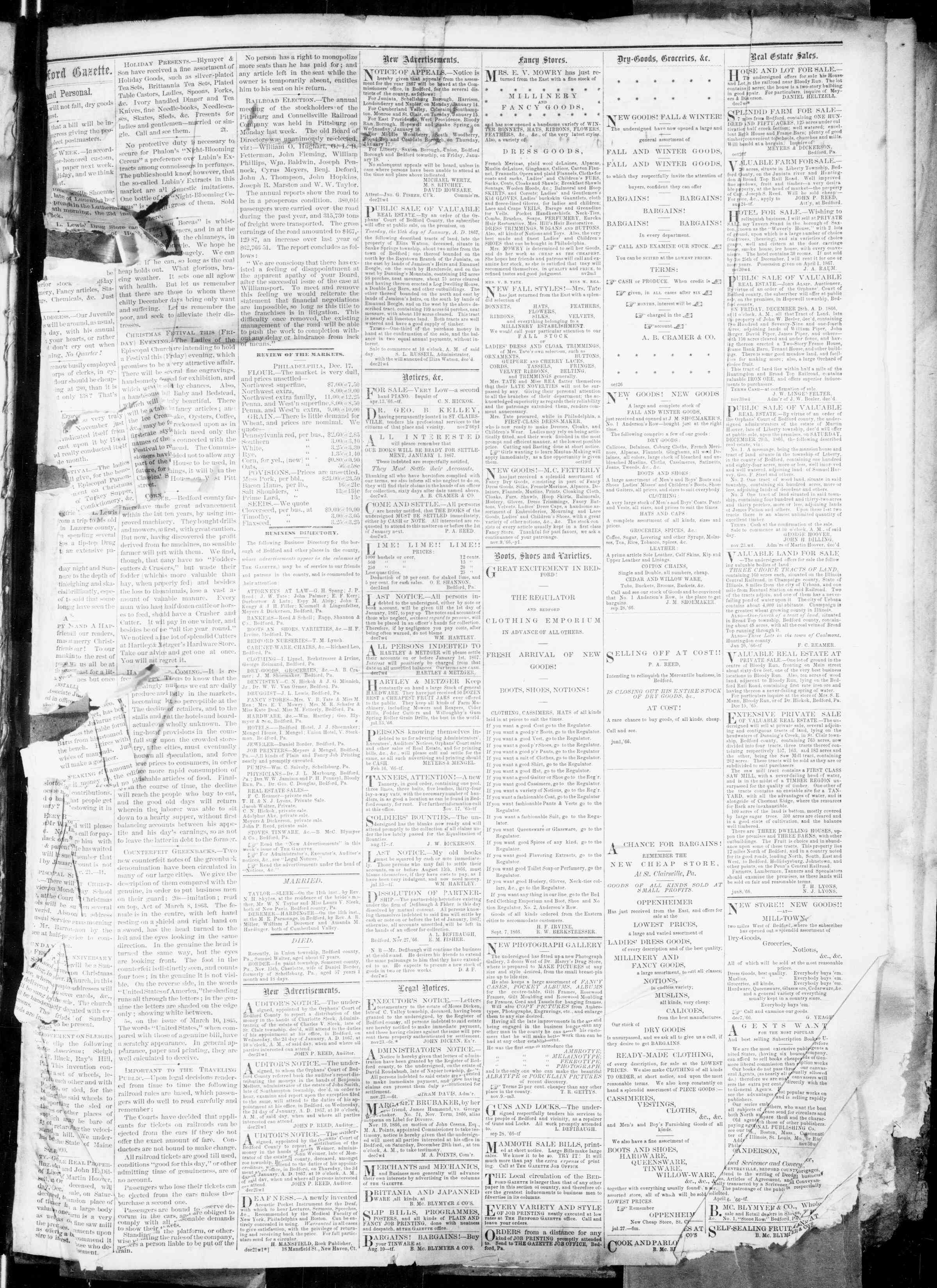 Newspaper of Bedford Gazette dated December 21, 1866 Page 4