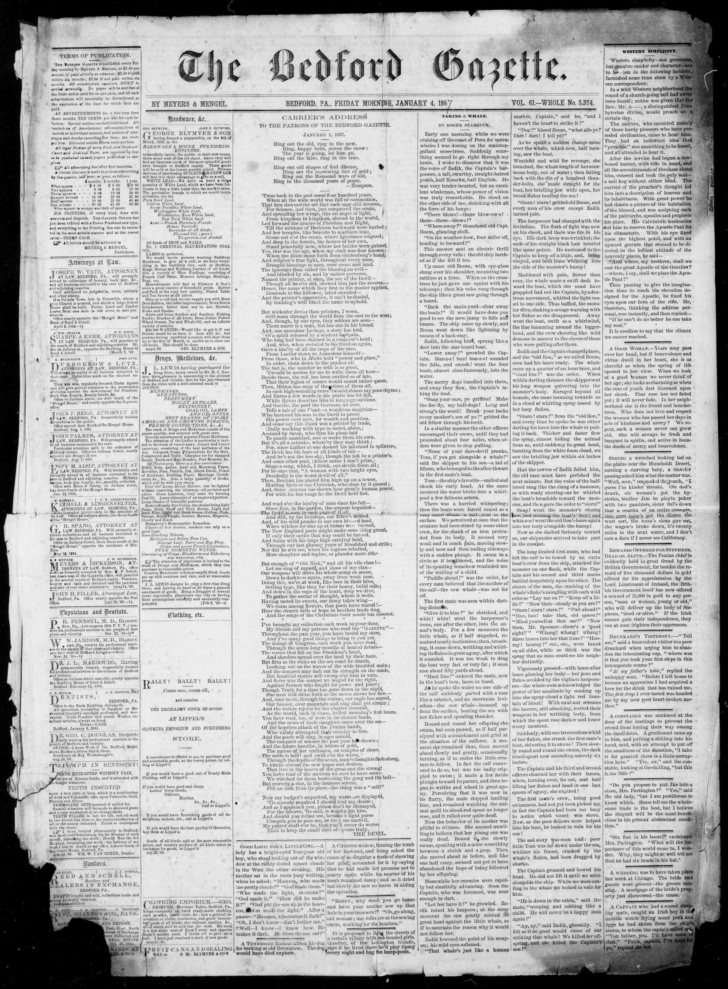 Newspaper of Bedford Gazette dated 4 Ocak 1867 Page 1
