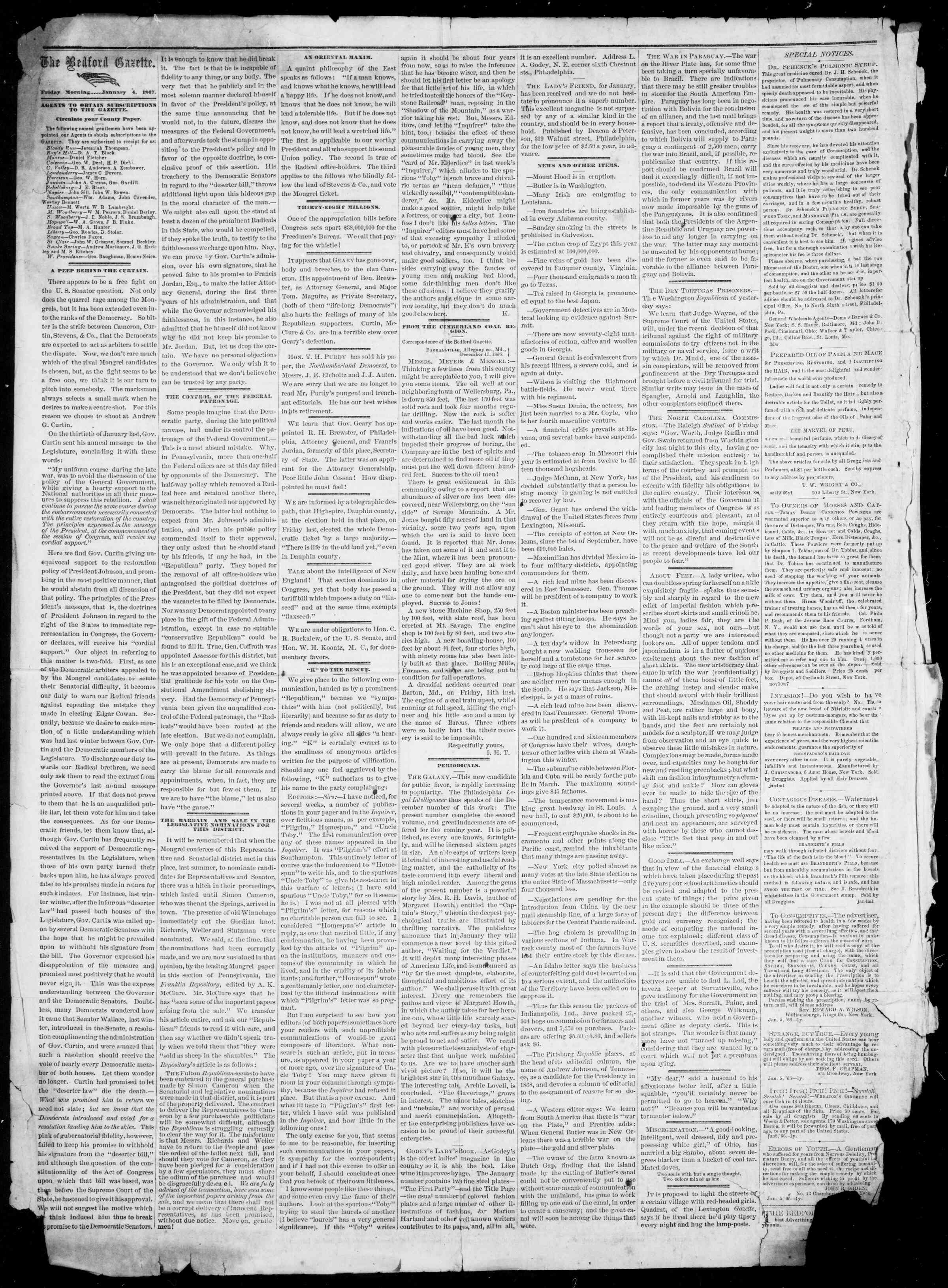 Newspaper of Bedford Gazette dated January 4, 1867 Page 2