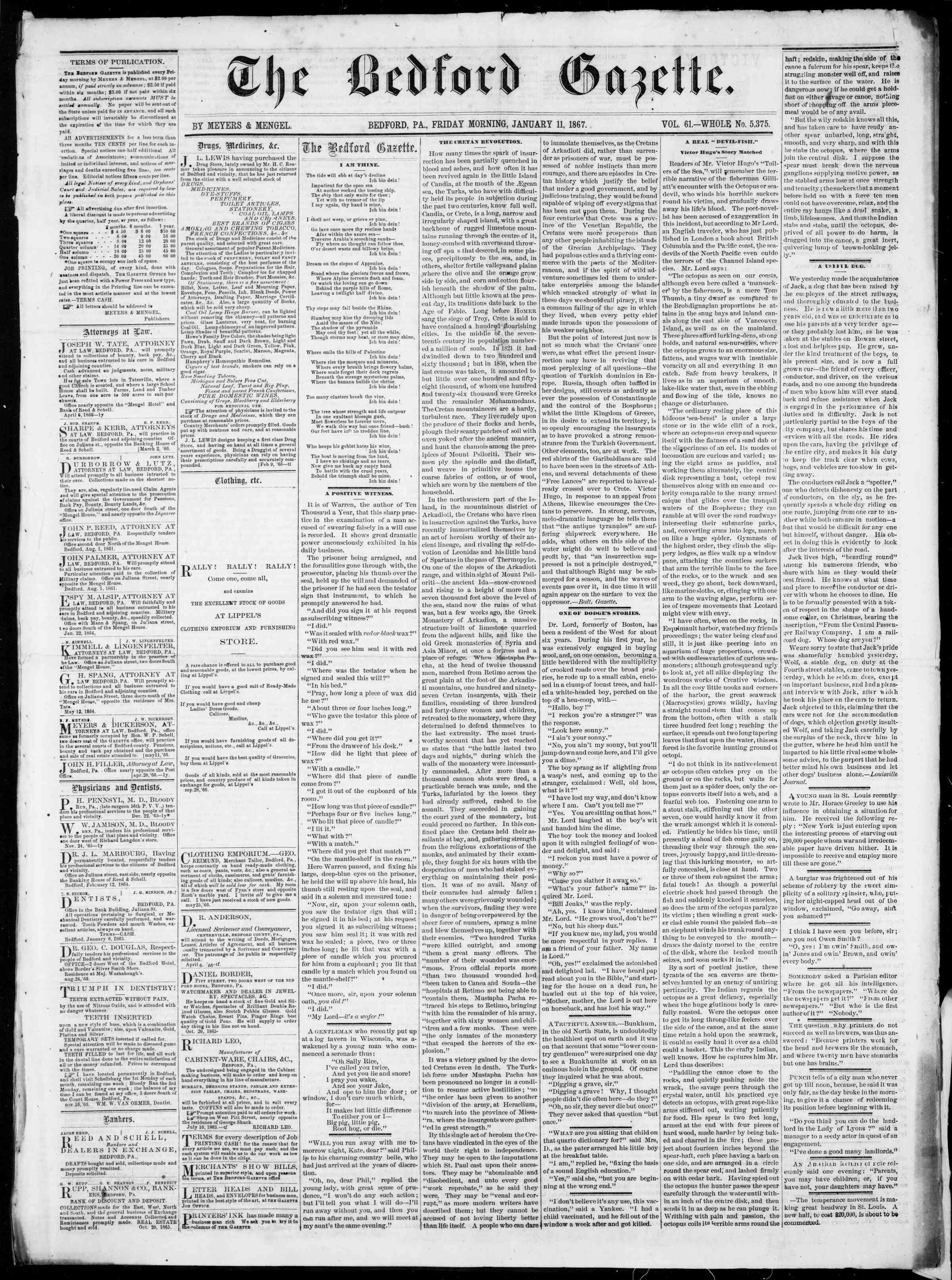 Newspaper of Bedford Gazette dated January 11, 1867 Page 1