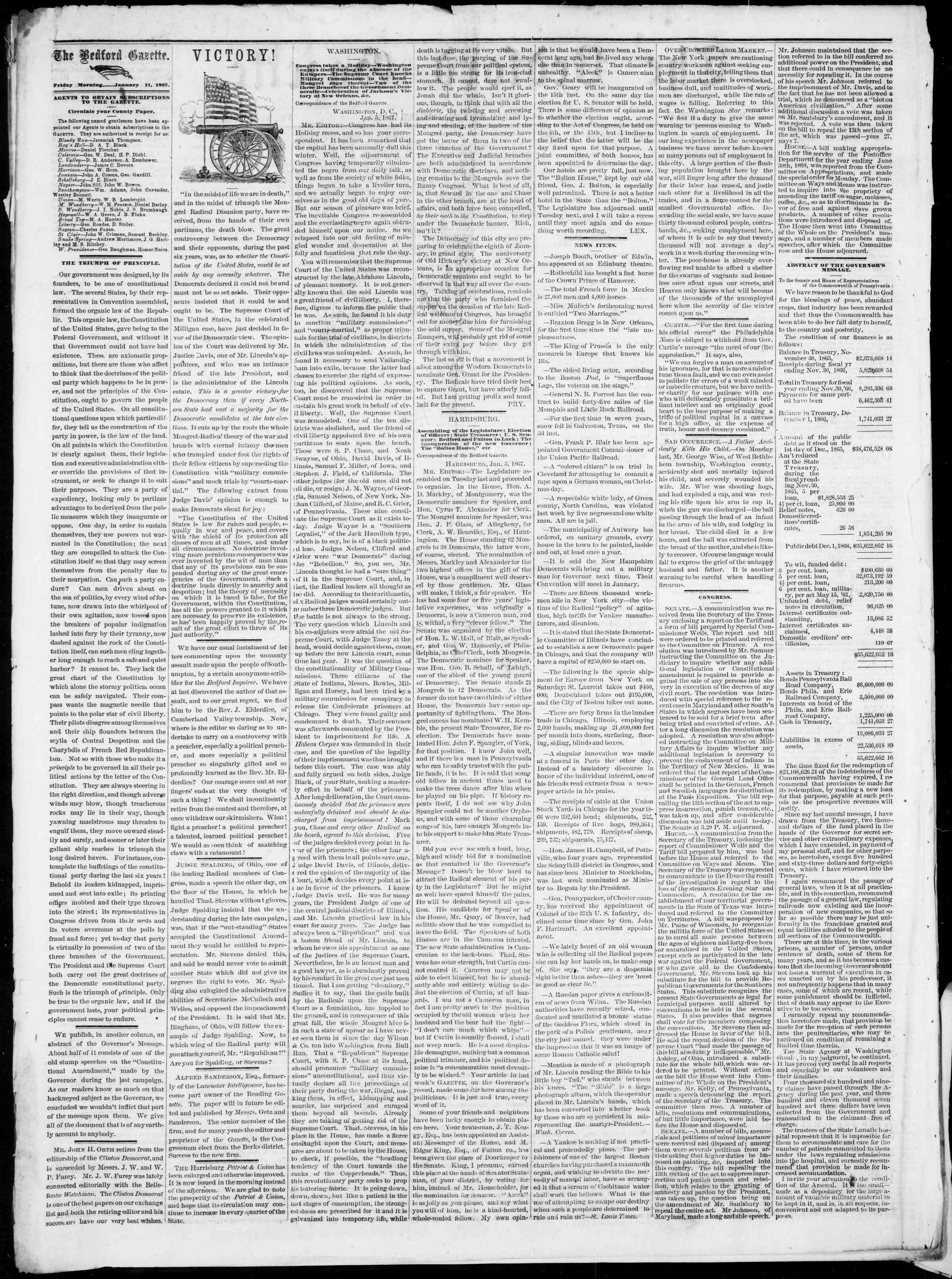 Newspaper of Bedford Gazette dated January 11, 1867 Page 2