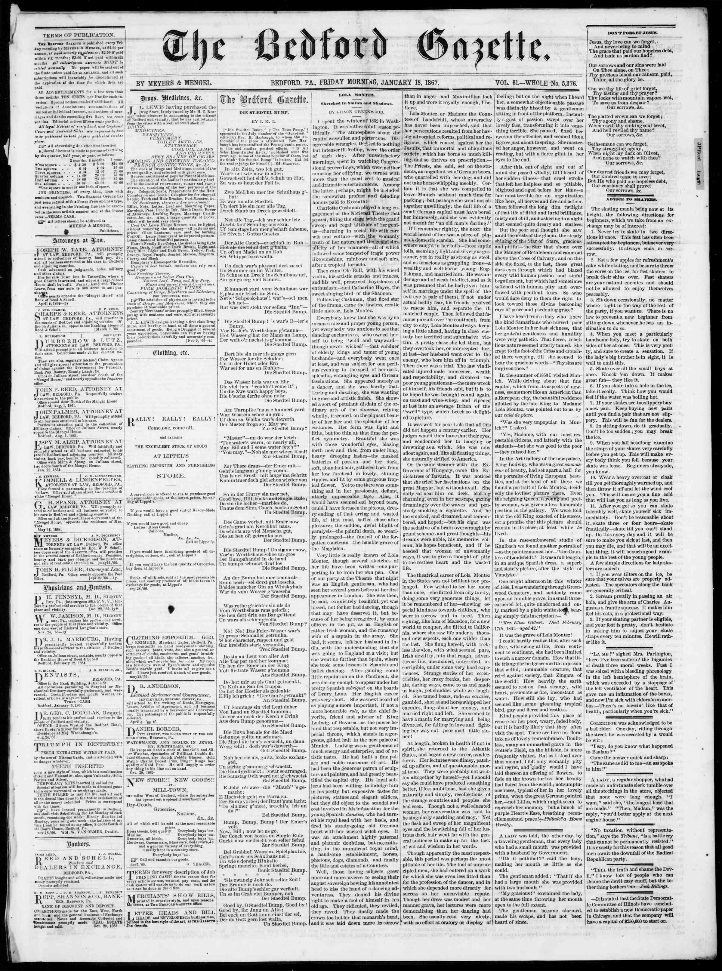 Newspaper of Bedford Gazette dated January 18, 1867 Page 1