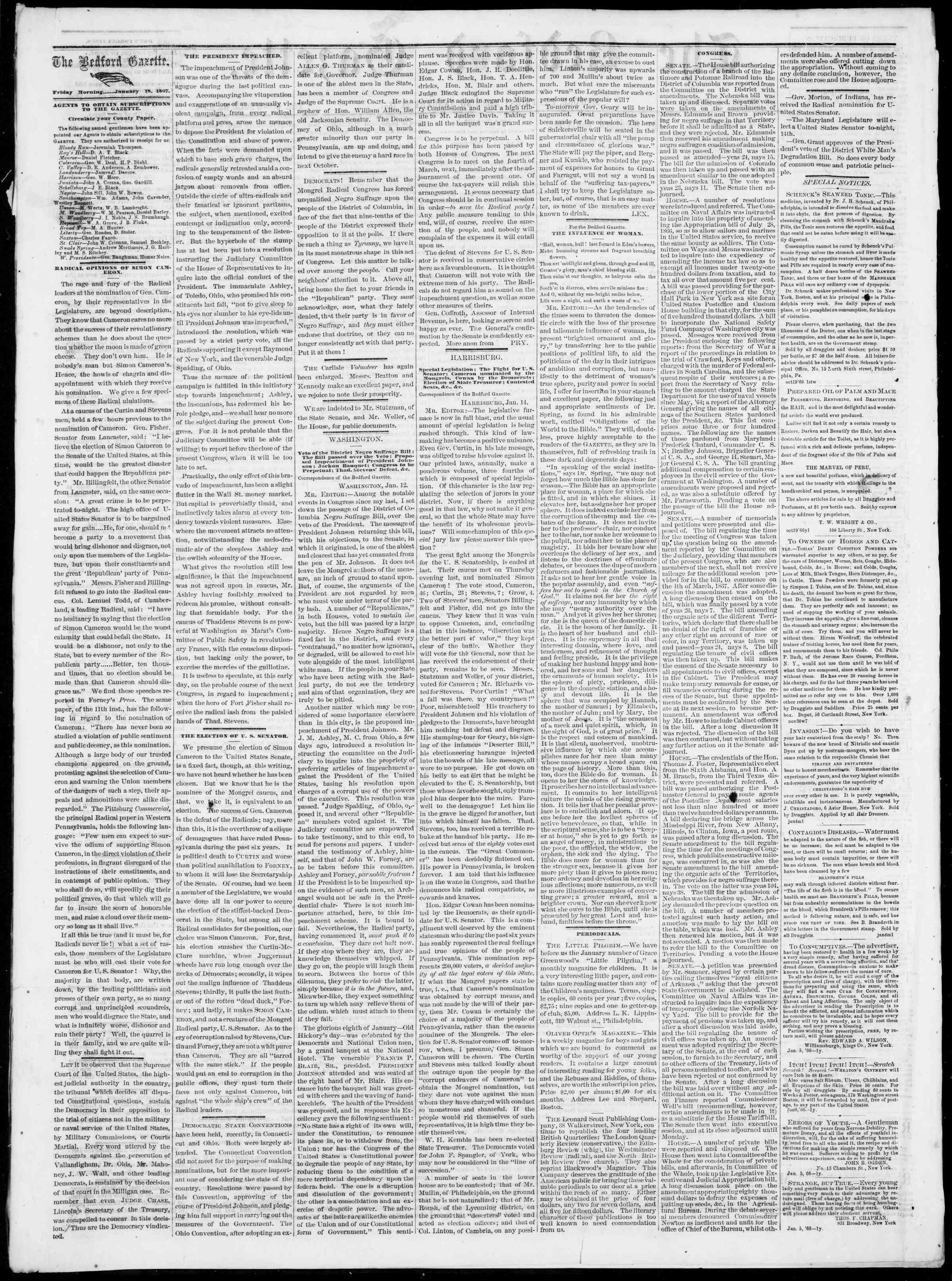 Newspaper of Bedford Gazette dated January 18, 1867 Page 2
