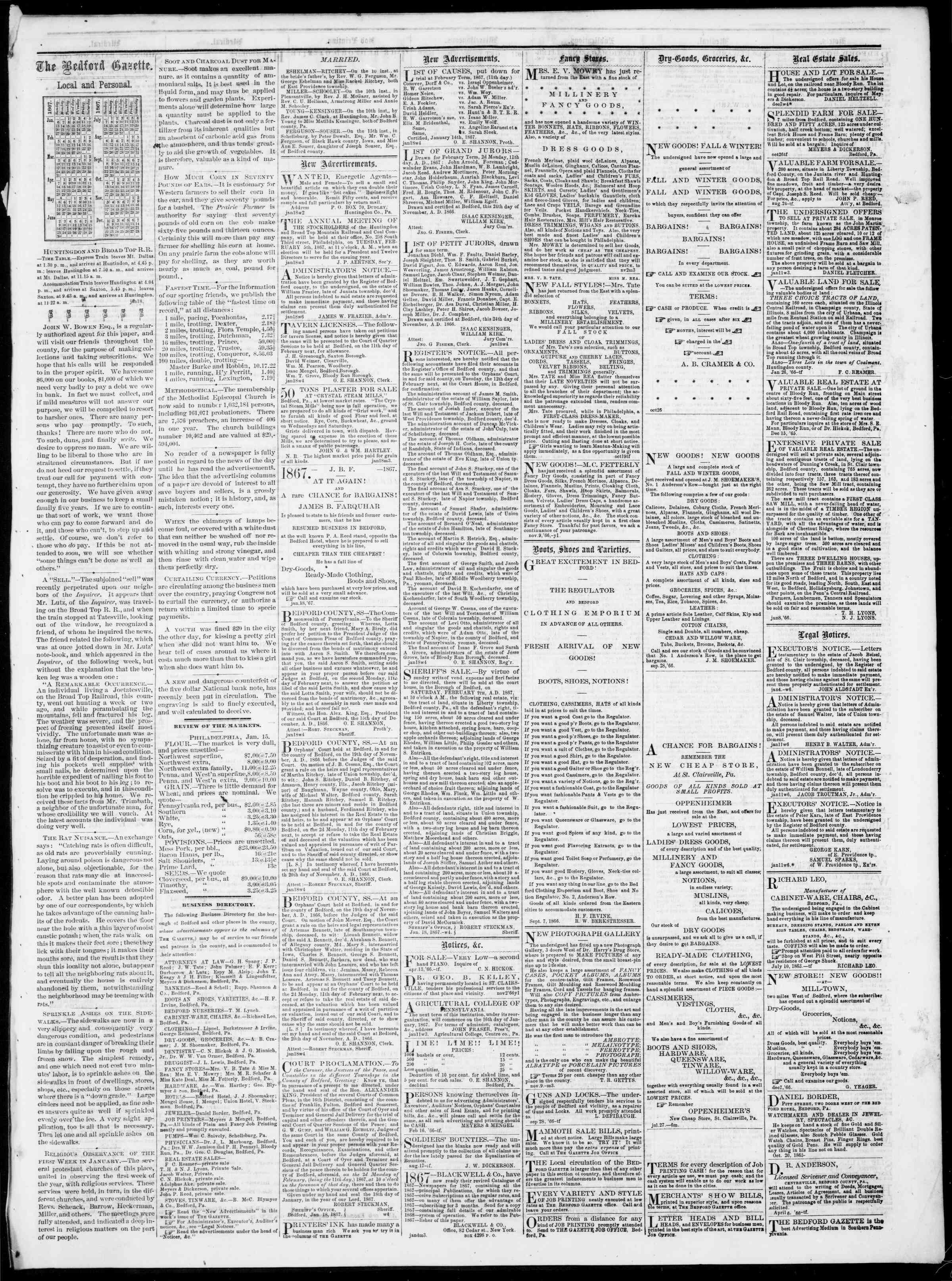 Newspaper of Bedford Gazette dated January 18, 1867 Page 3