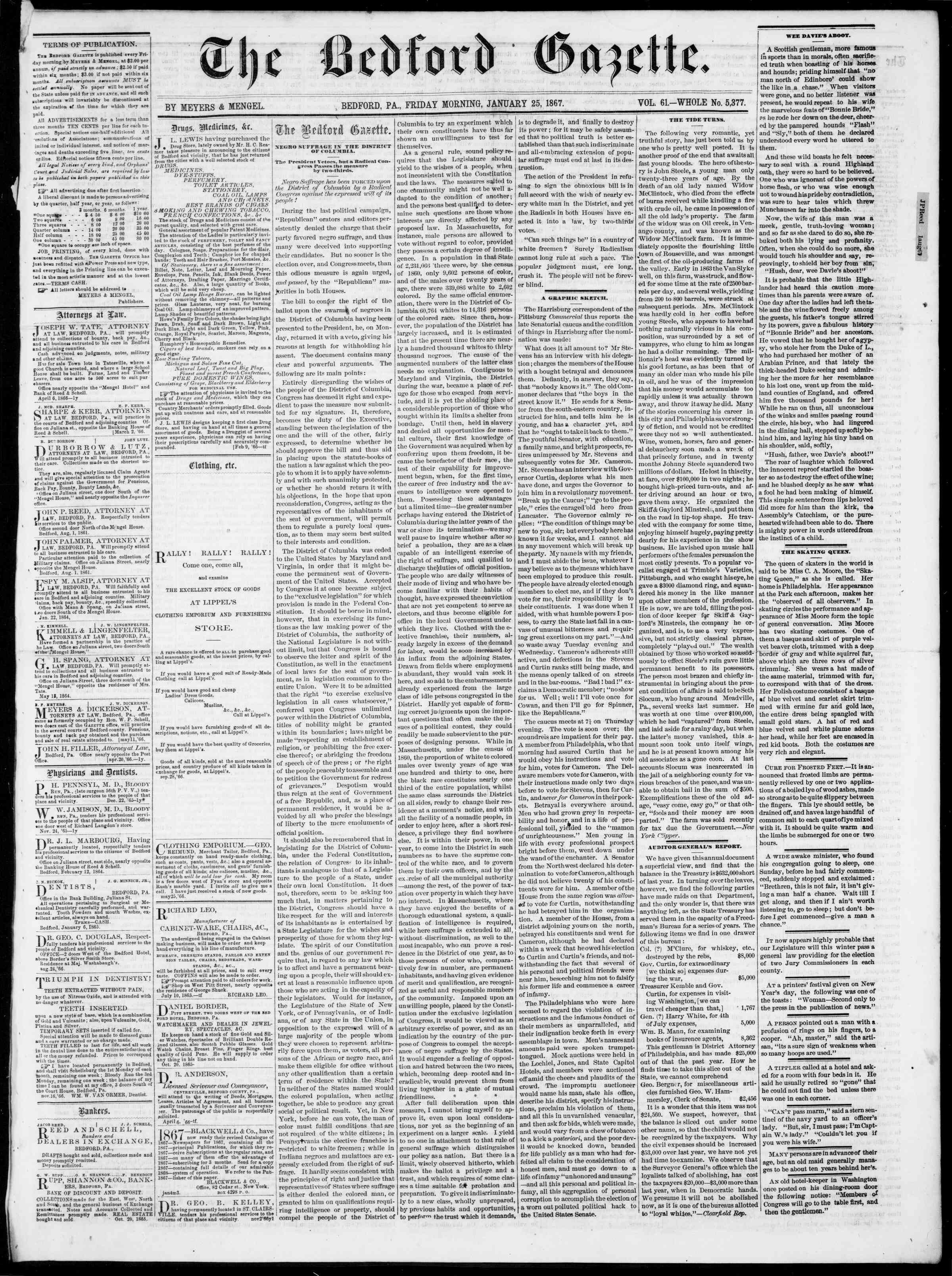 Newspaper of Bedford Gazette dated January 25, 1867 Page 1