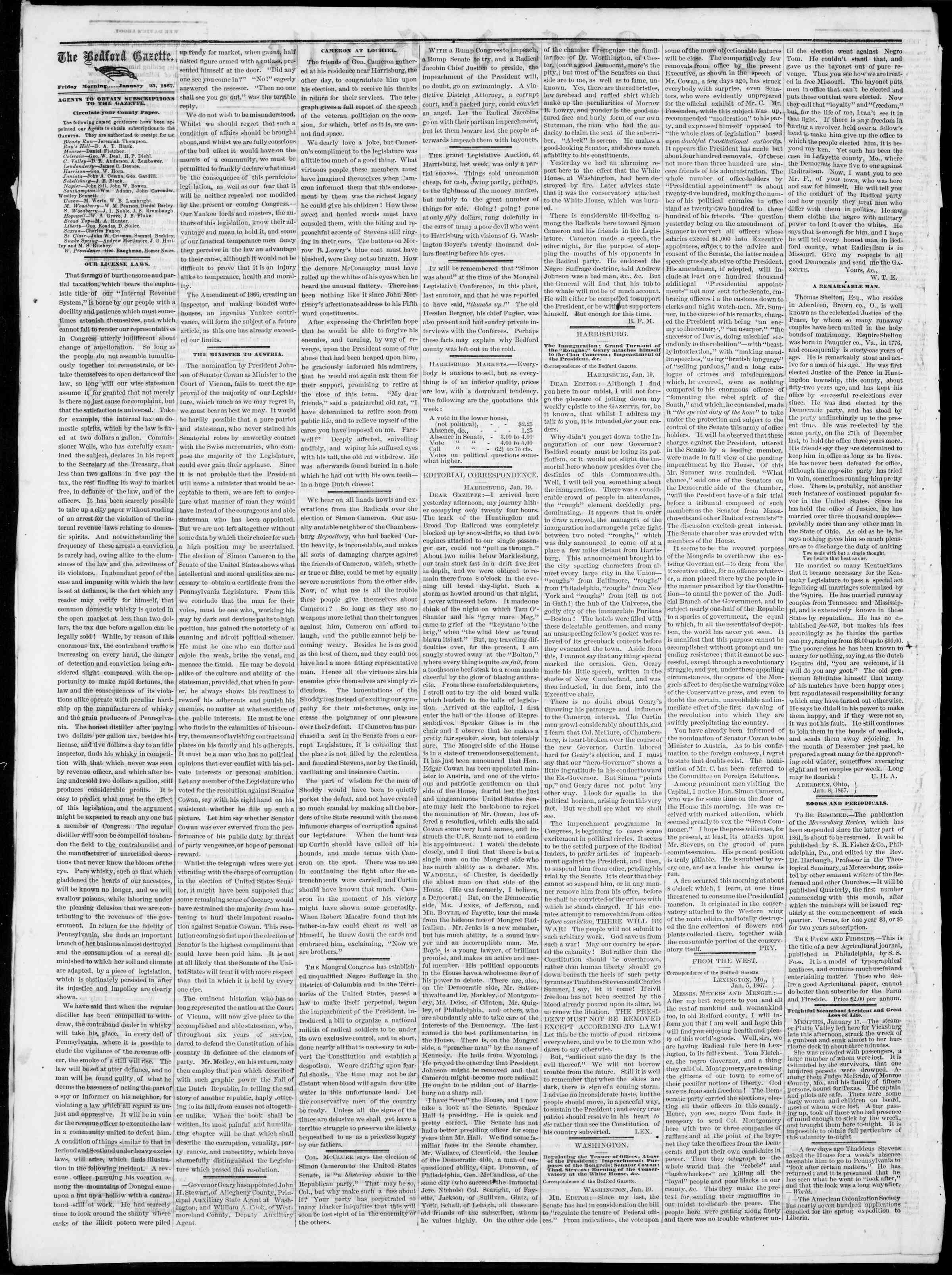 Newspaper of Bedford Gazette dated January 25, 1867 Page 2