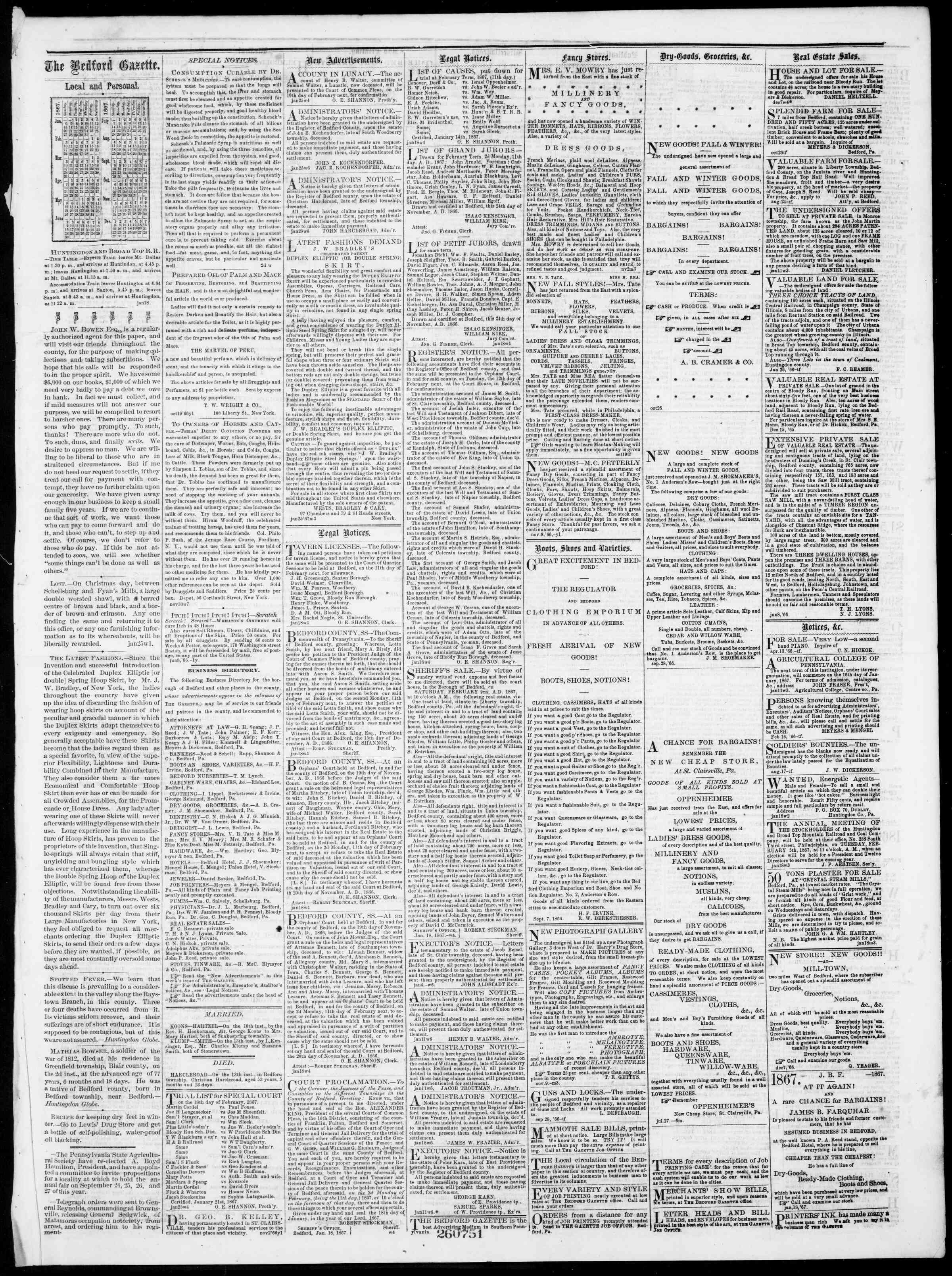 Newspaper of Bedford Gazette dated January 25, 1867 Page 3