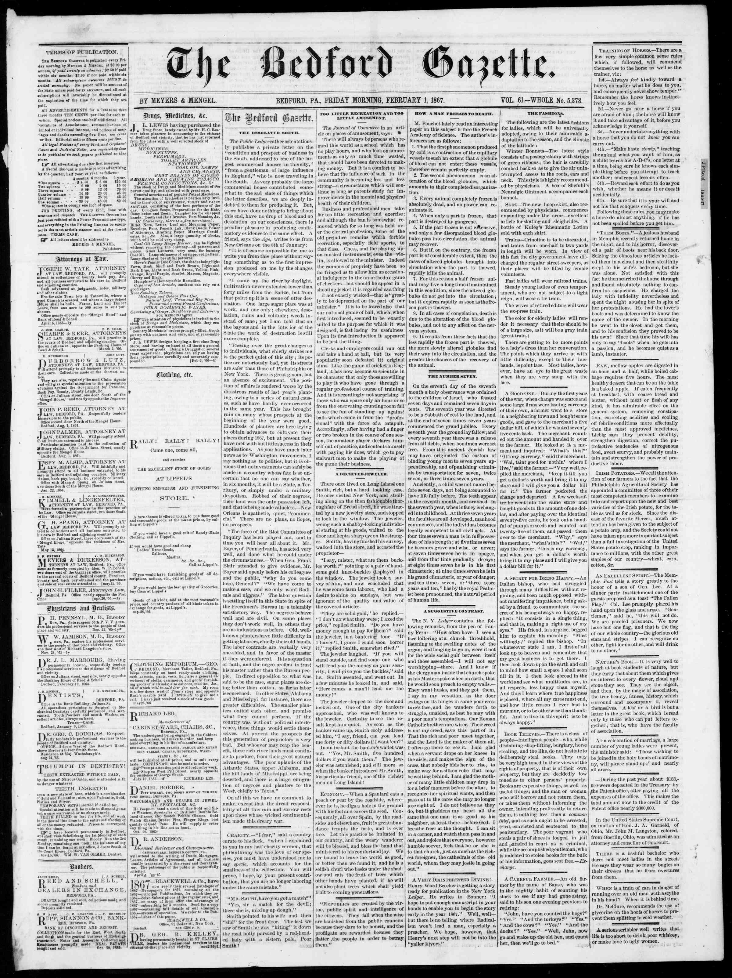 Newspaper of Bedford Gazette dated February 1, 1867 Page 1