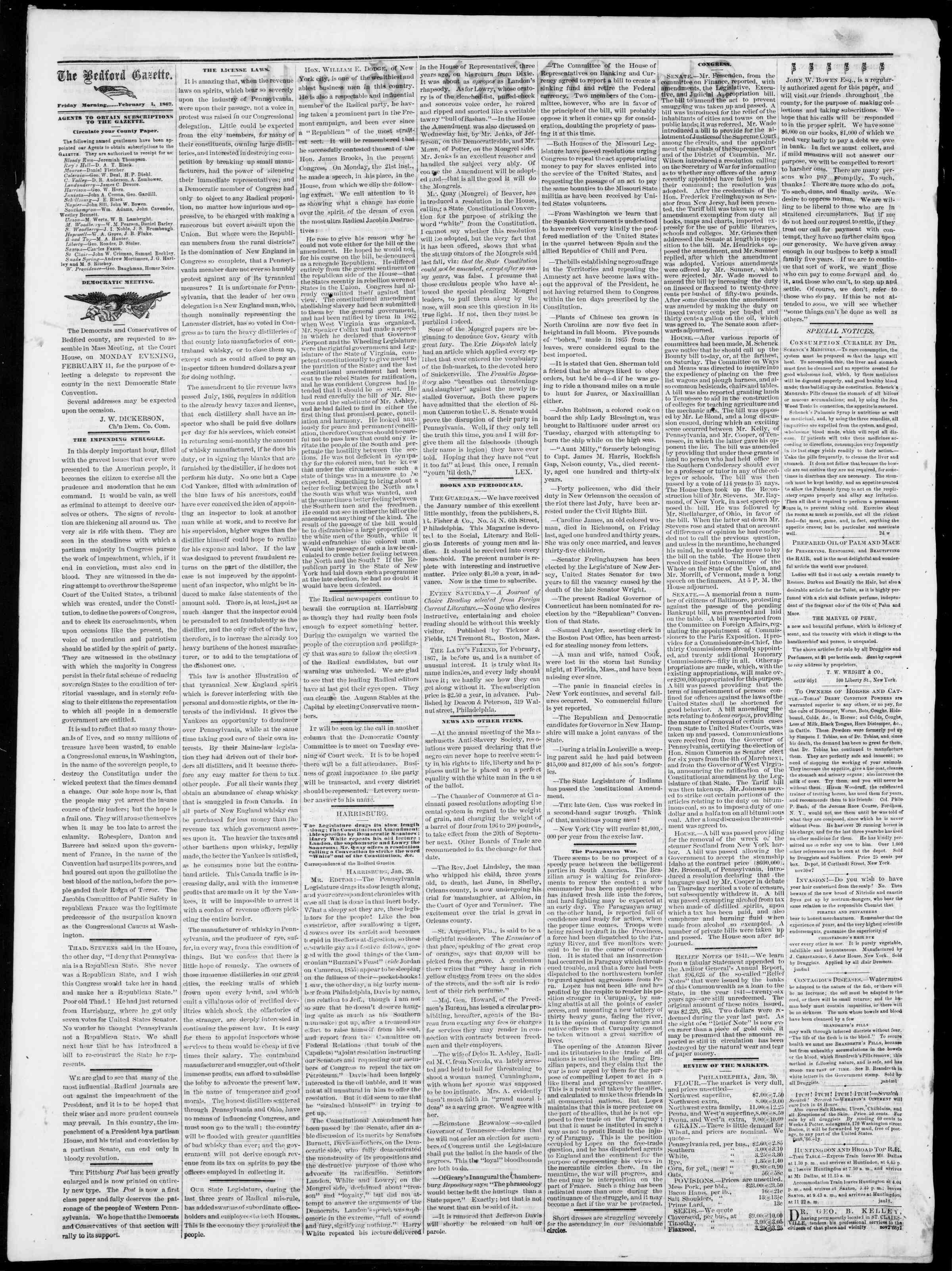 Newspaper of Bedford Gazette dated February 1, 1867 Page 2