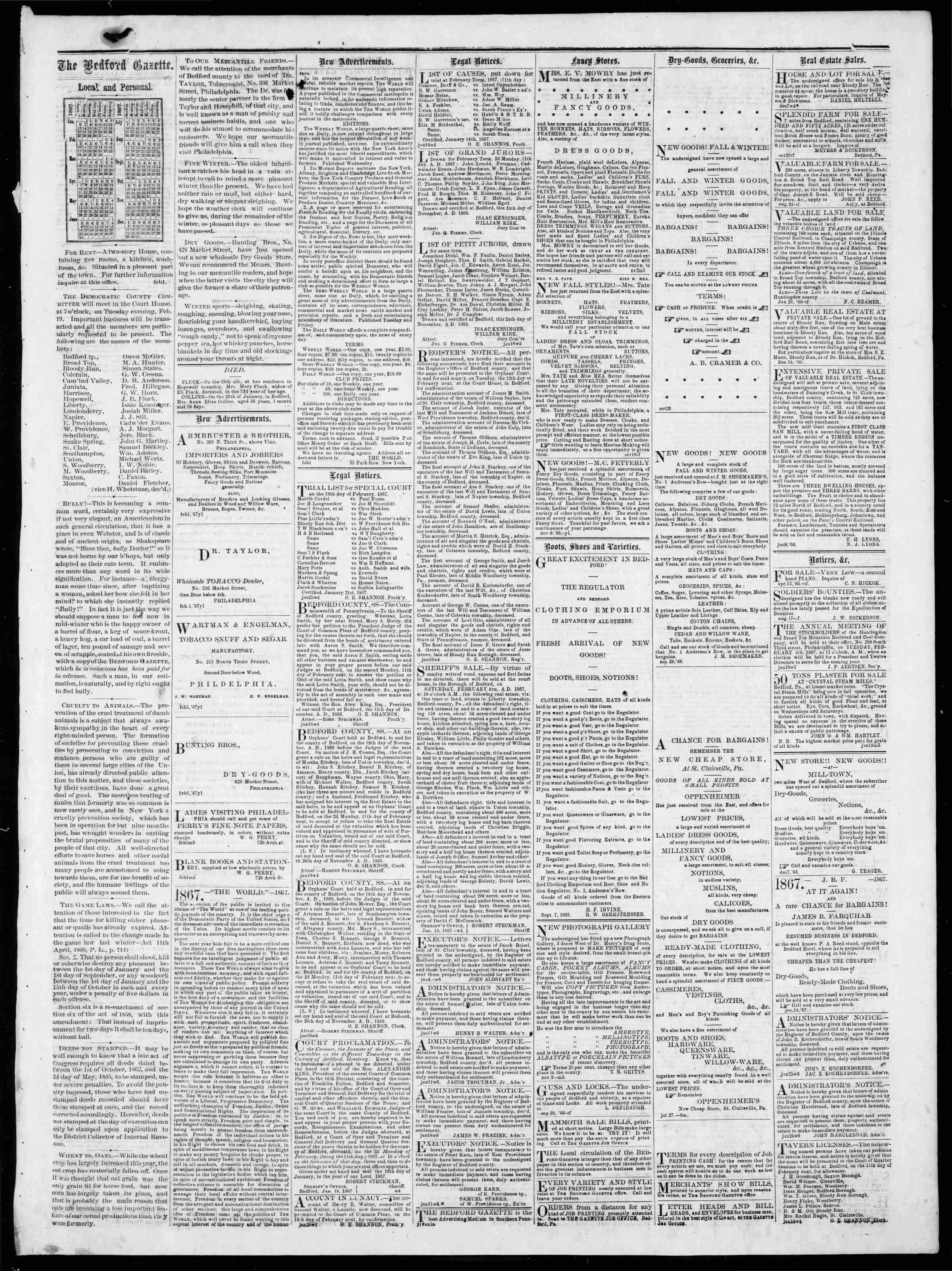 Newspaper of Bedford Gazette dated February 1, 1867 Page 3