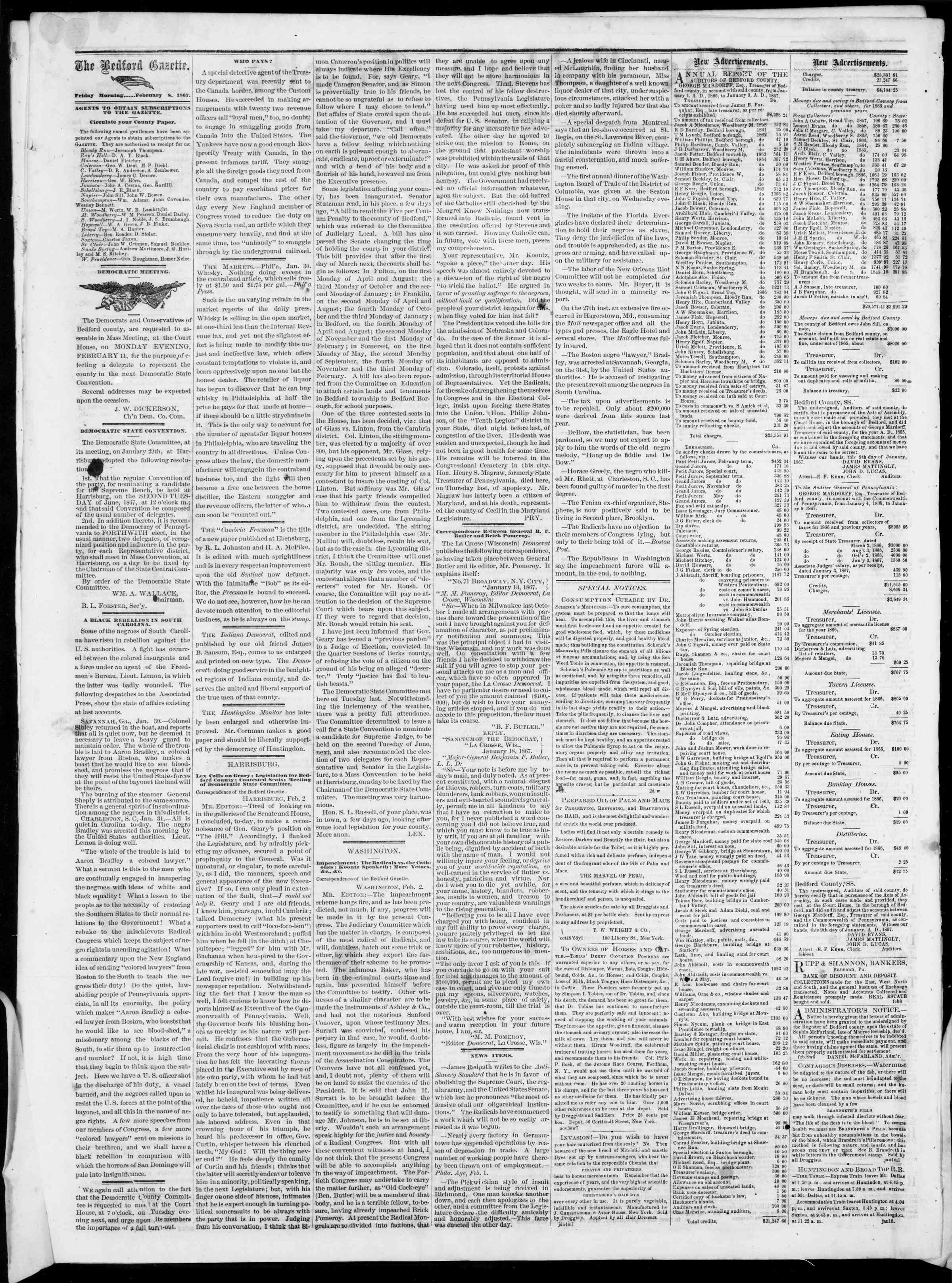 Newspaper of Bedford Gazette dated February 8, 1867 Page 2