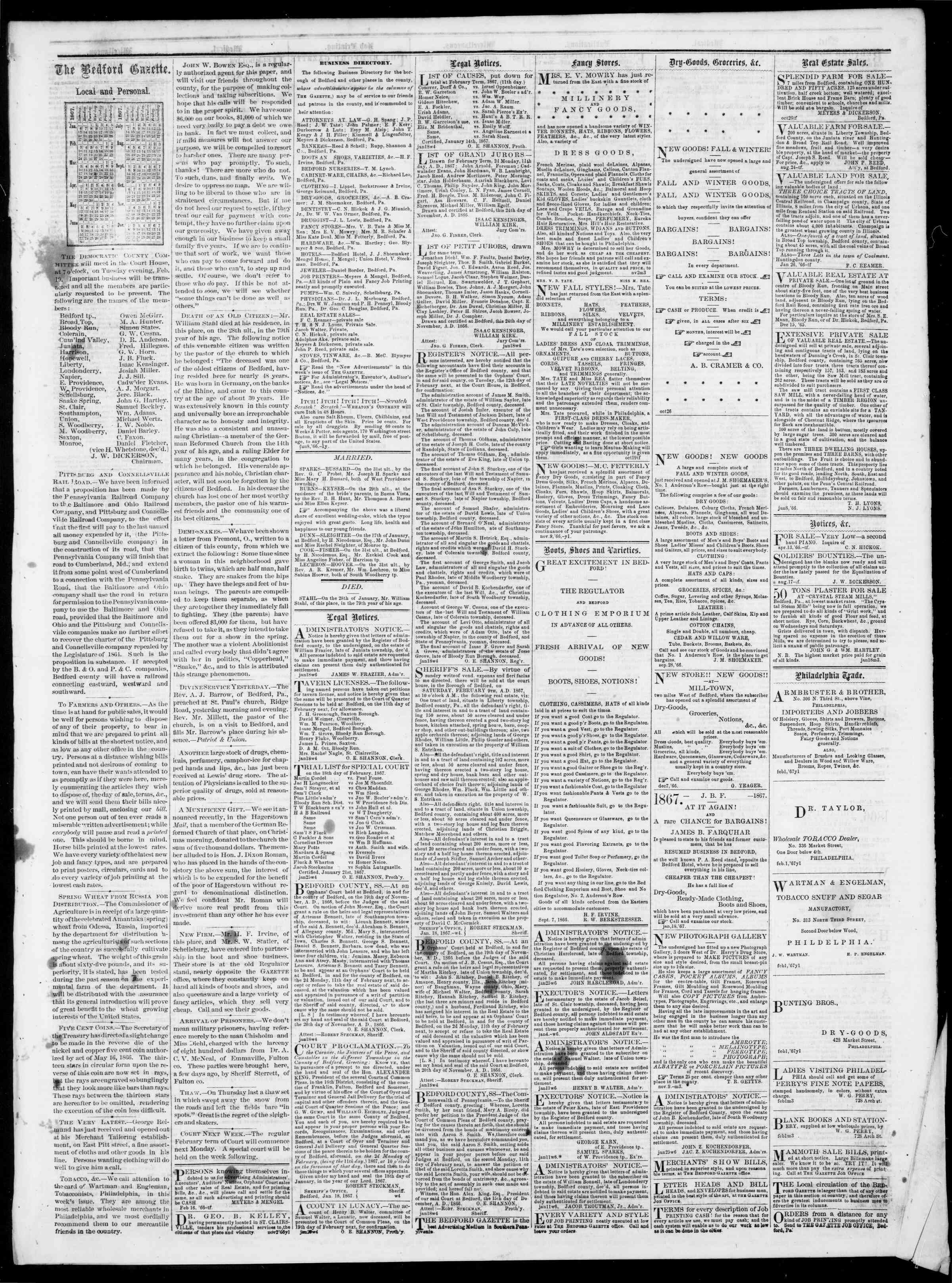 Newspaper of Bedford Gazette dated February 8, 1867 Page 3