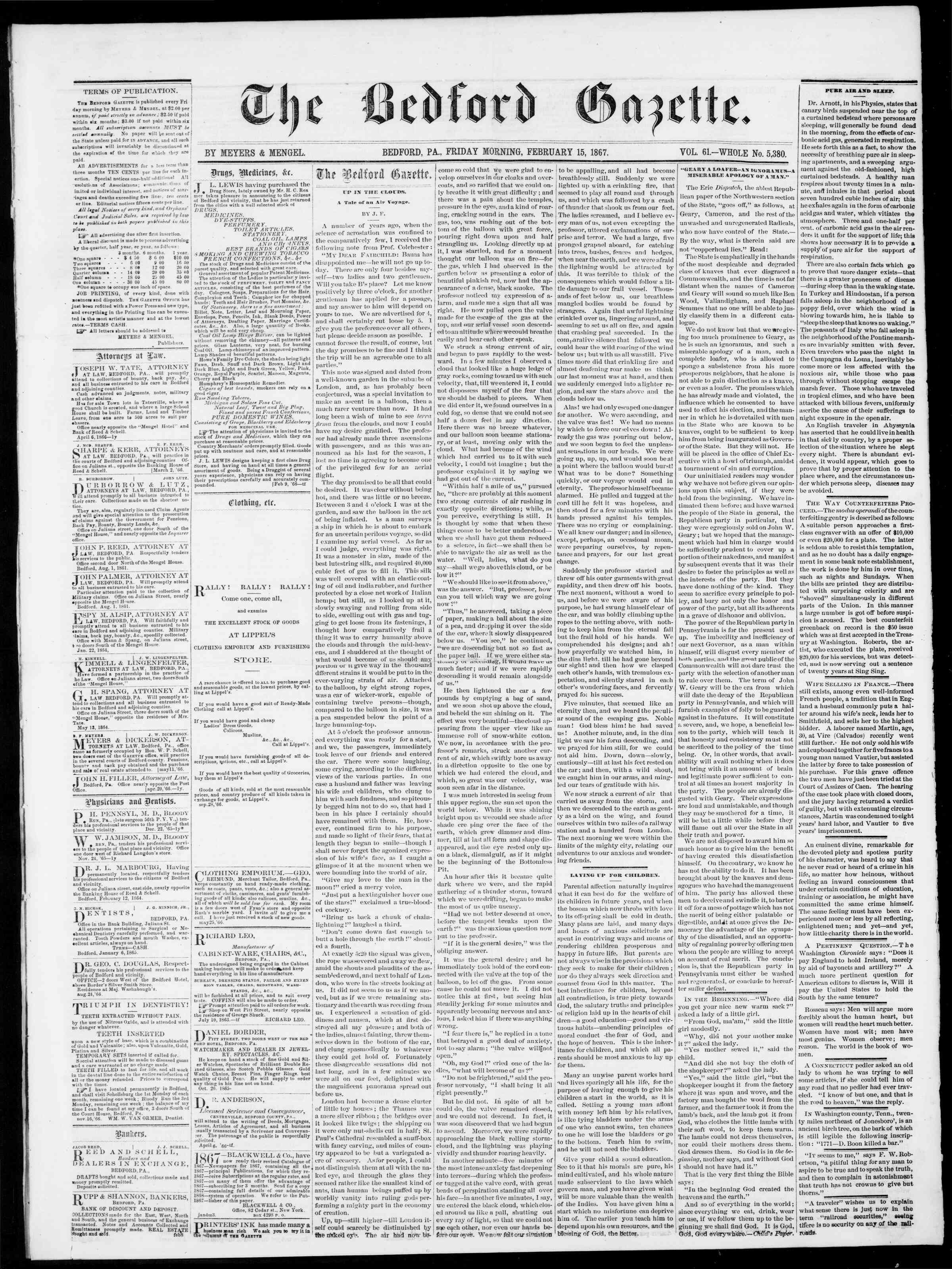 Newspaper of Bedford Gazette dated February 15, 1867 Page 1