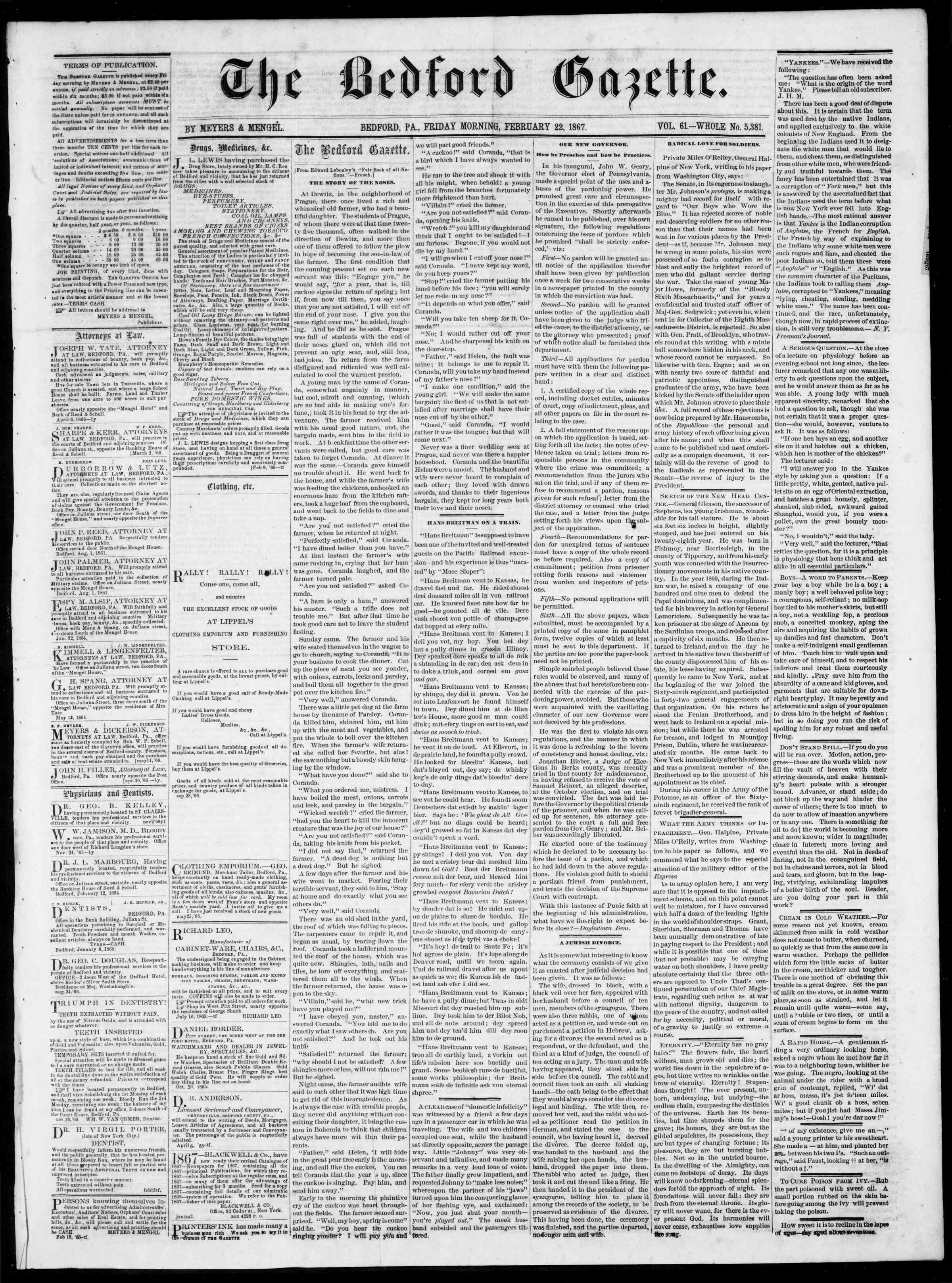 Newspaper of Bedford Gazette dated February 22, 1867 Page 1