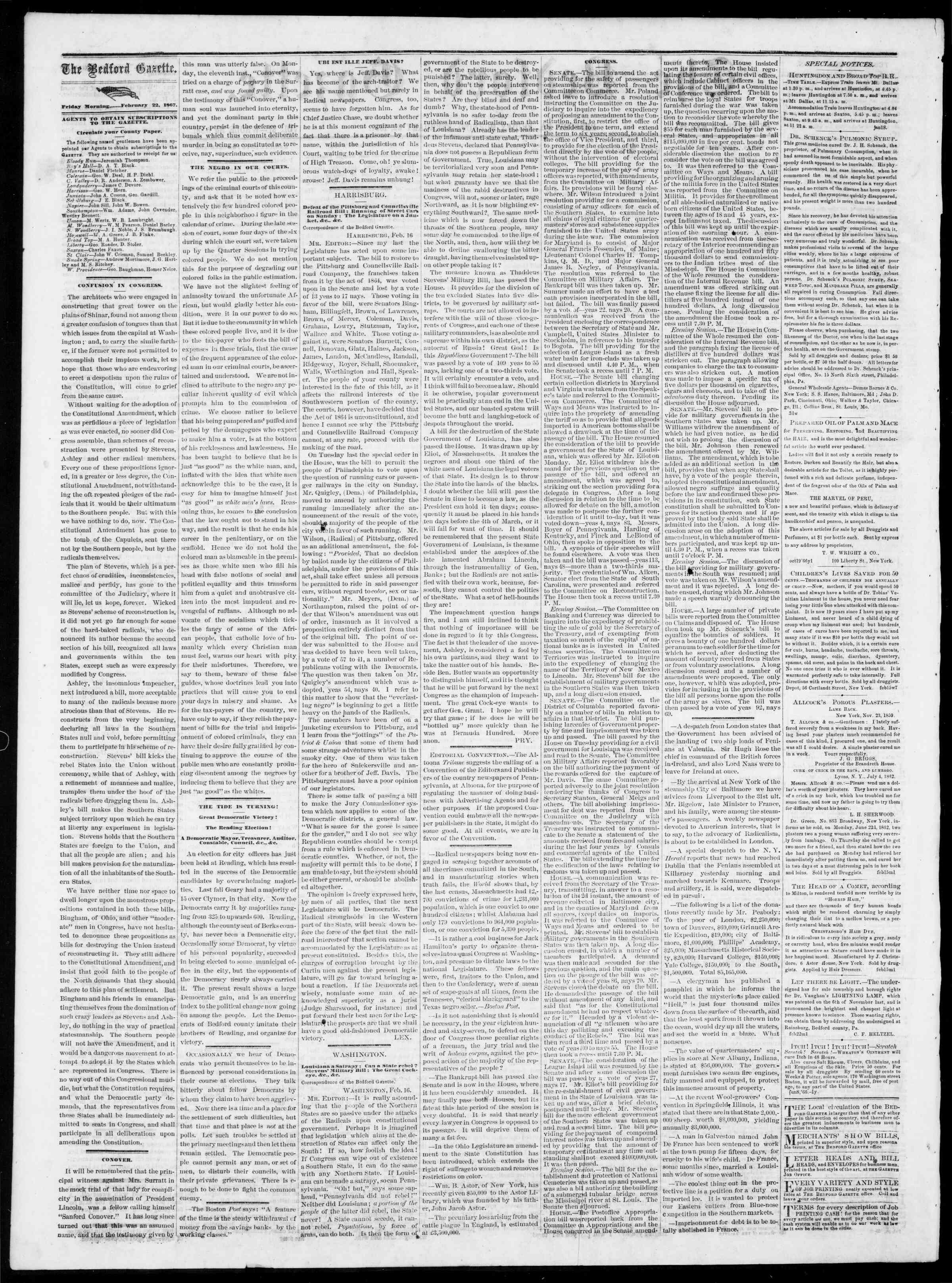 Newspaper of Bedford Gazette dated February 22, 1867 Page 2