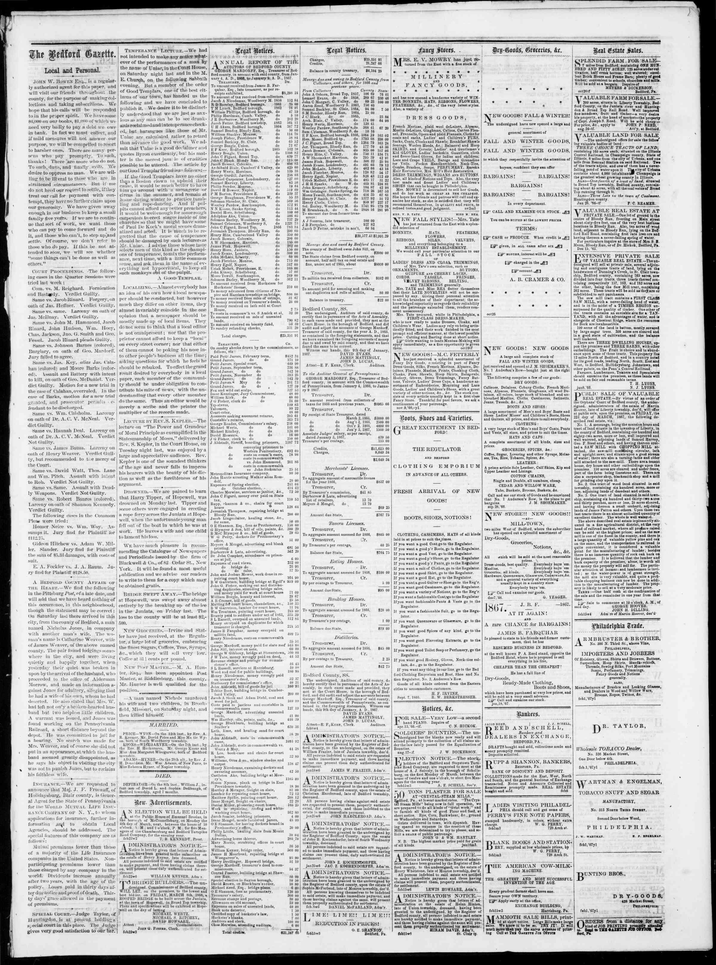 Newspaper of Bedford Gazette dated February 22, 1867 Page 3