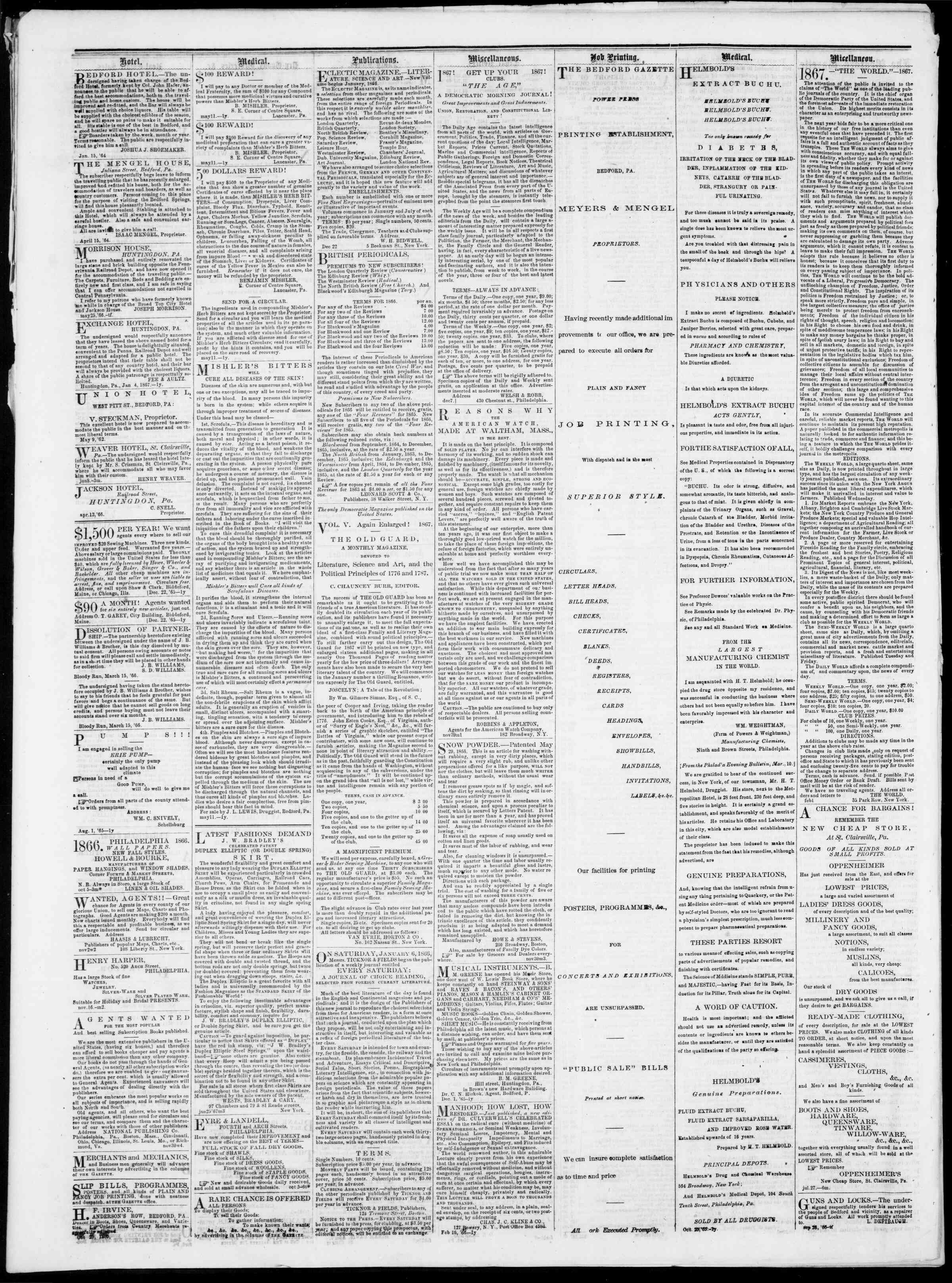 Newspaper of Bedford Gazette dated February 22, 1867 Page 4