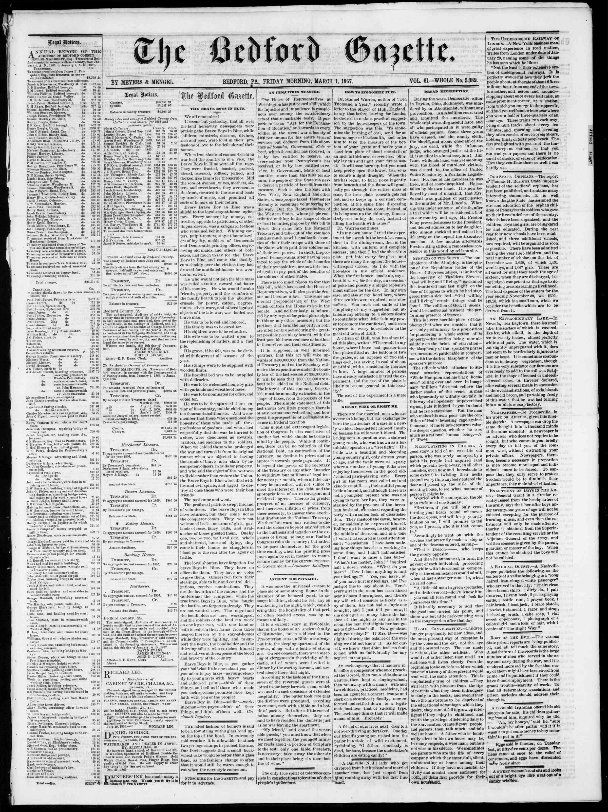 Newspaper of Bedford Gazette dated March 1, 1867 Page 1