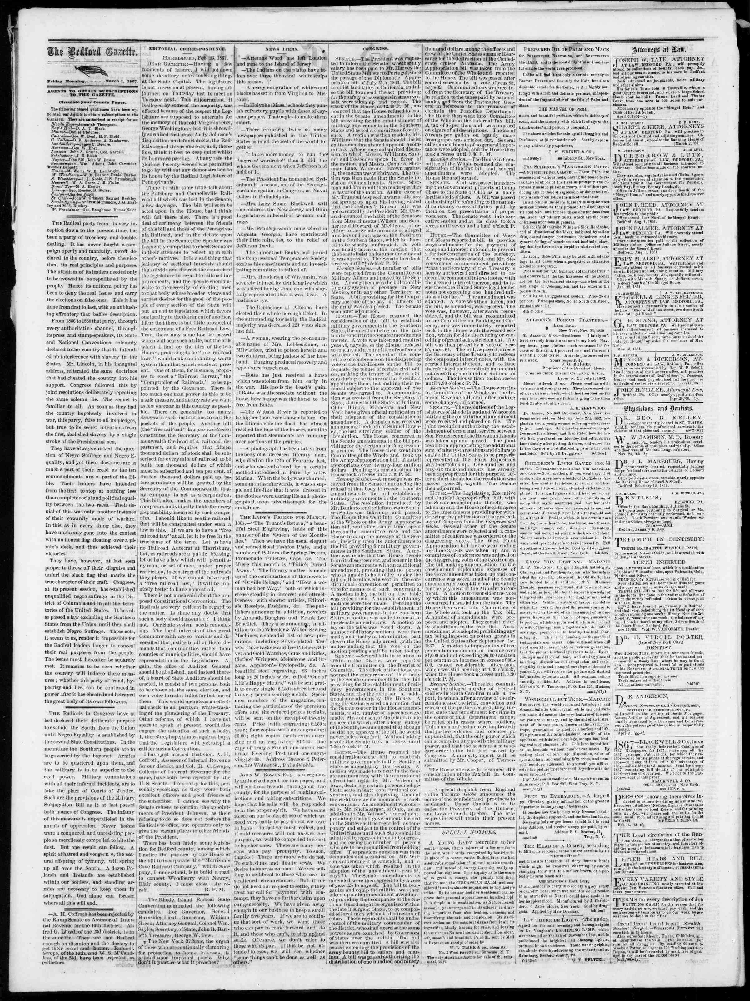 Newspaper of Bedford Gazette dated March 1, 1867 Page 2