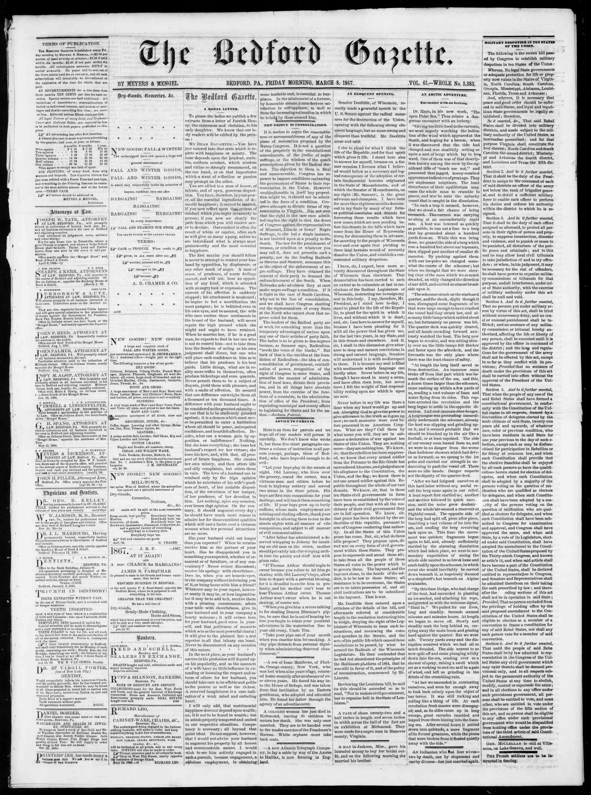 Newspaper of Bedford Gazette dated March 8, 1867 Page 1
