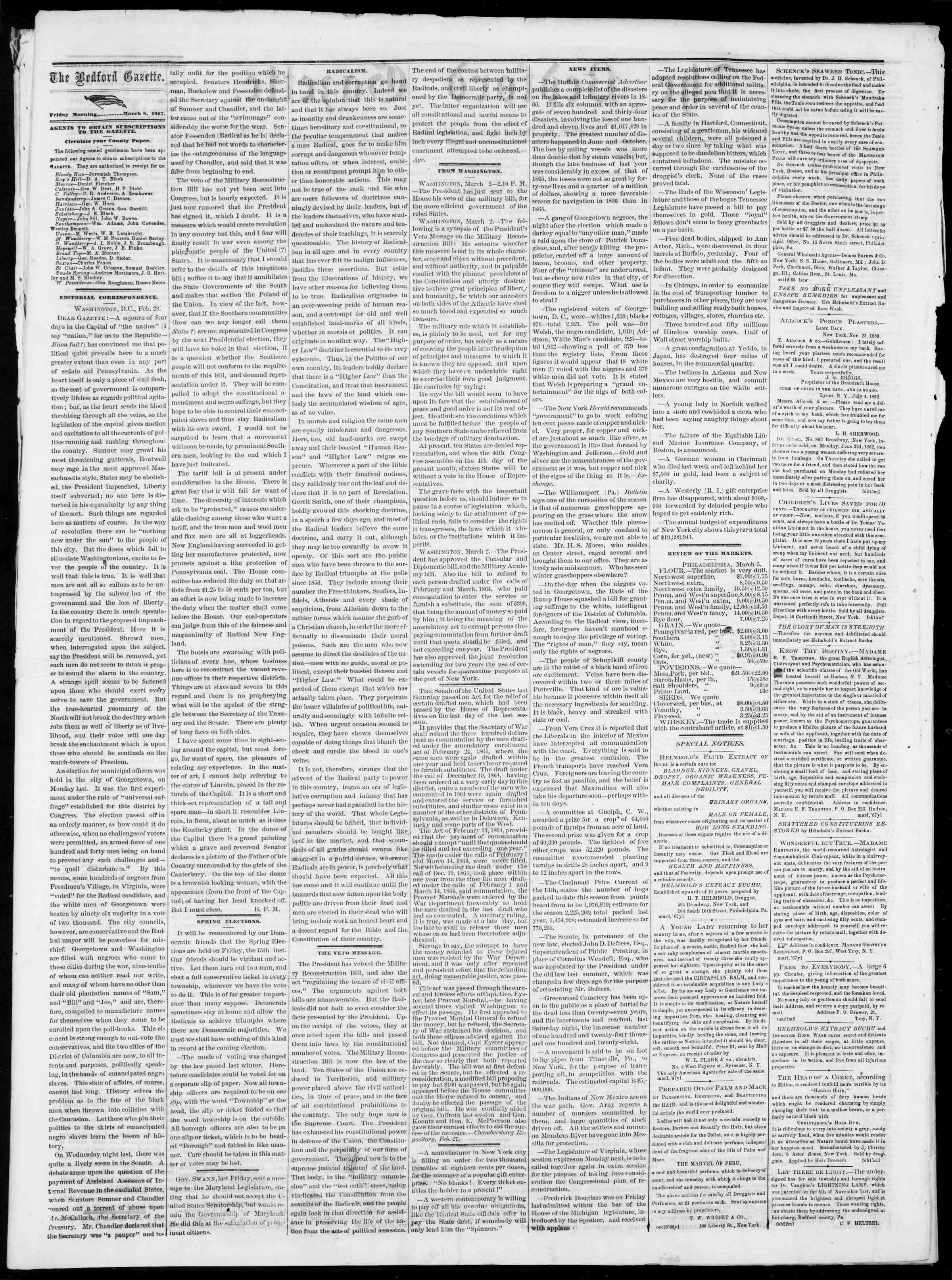 Newspaper of Bedford Gazette dated March 8, 1867 Page 2