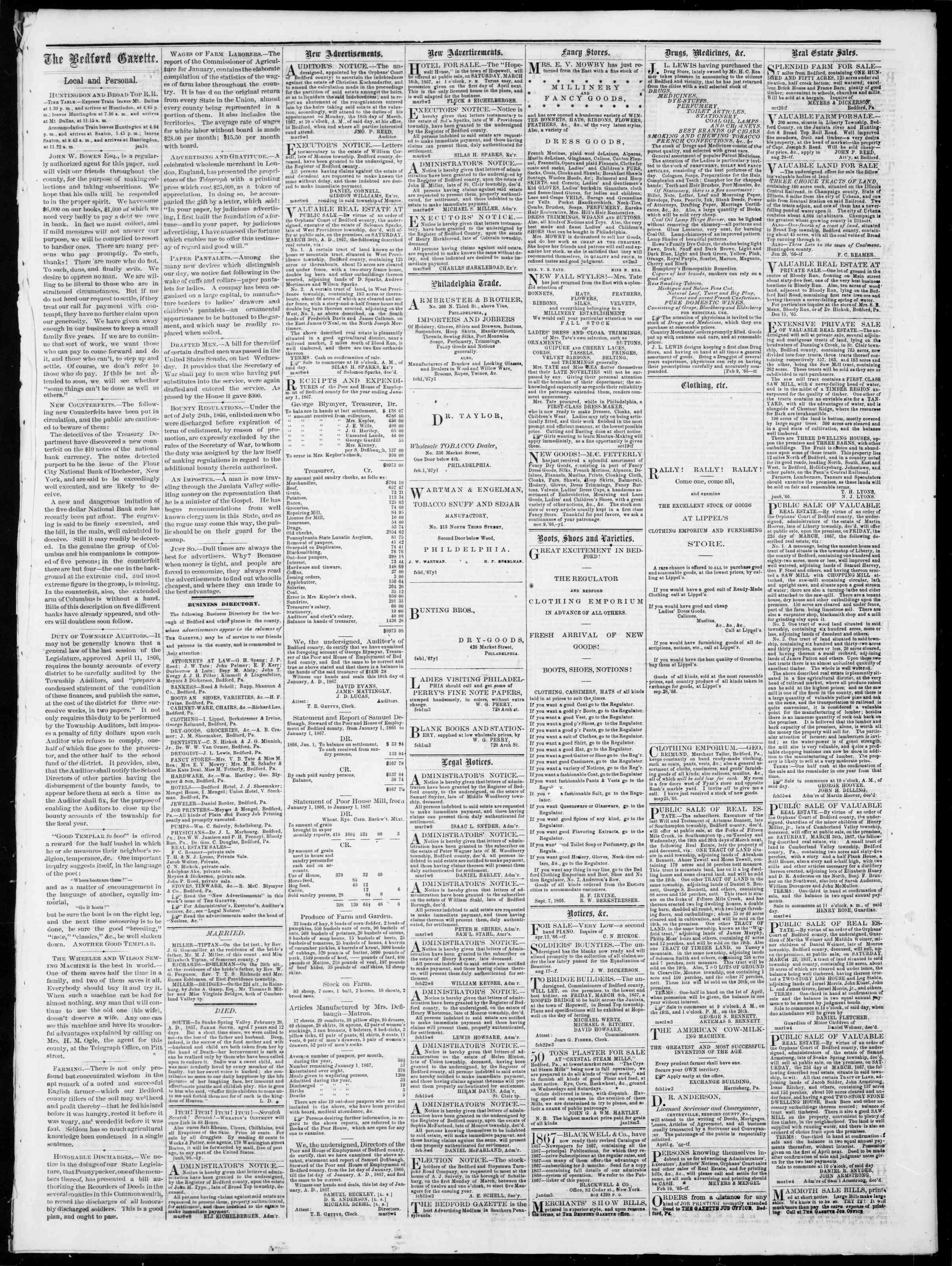 Newspaper of Bedford Gazette dated March 8, 1867 Page 3
