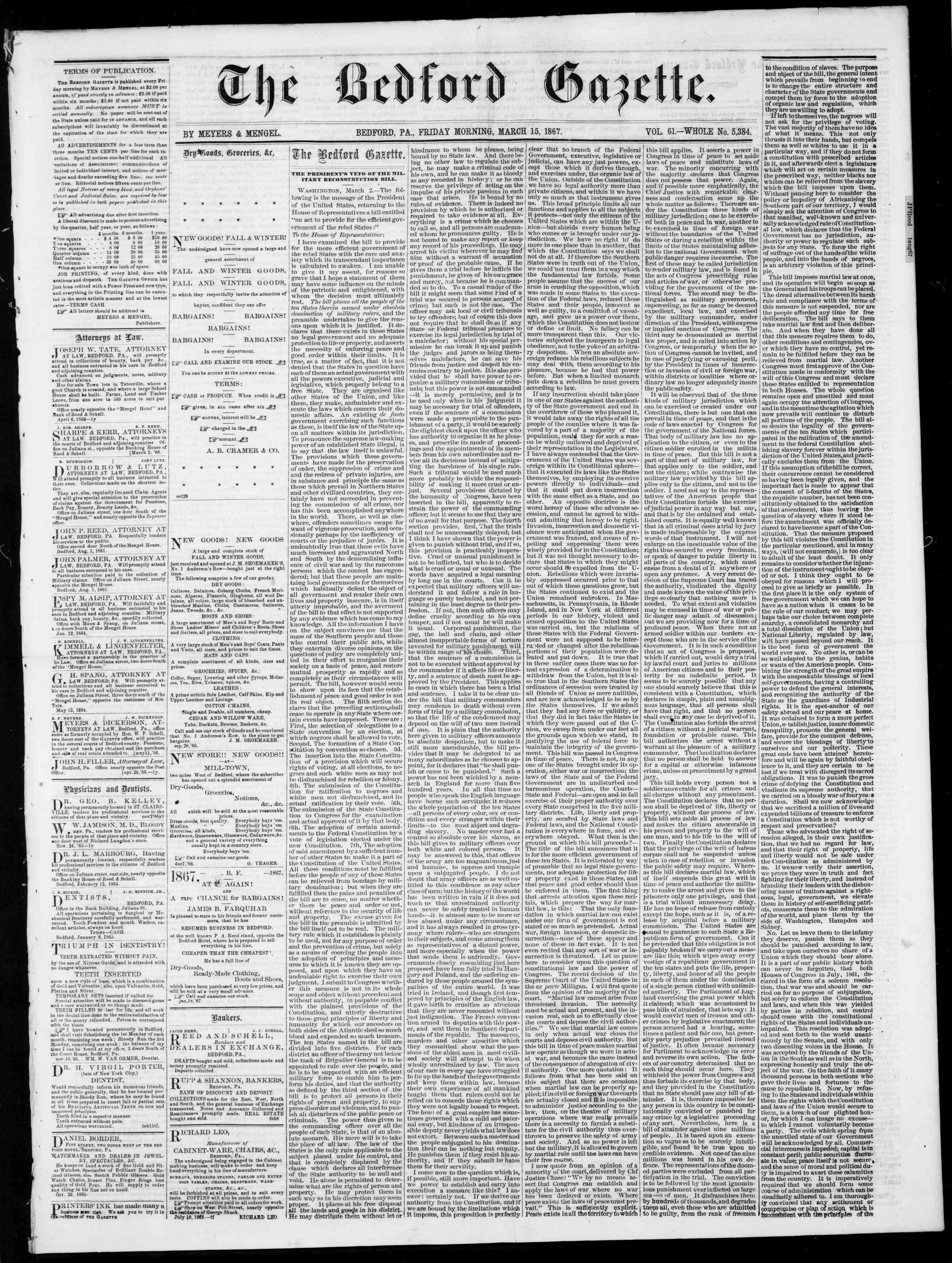 Newspaper of Bedford Gazette dated March 15, 1867 Page 1