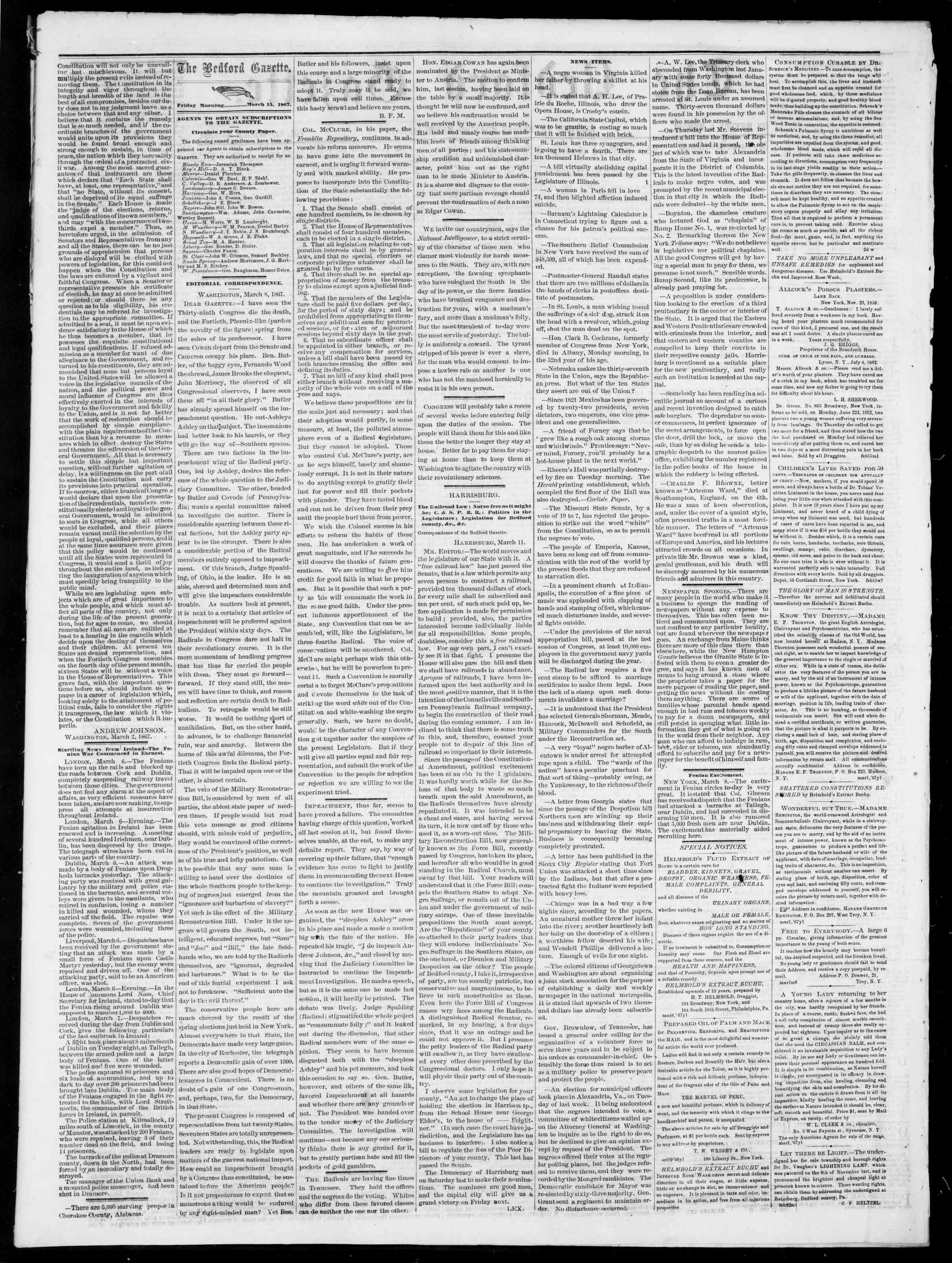 Newspaper of Bedford Gazette dated March 15, 1867 Page 2