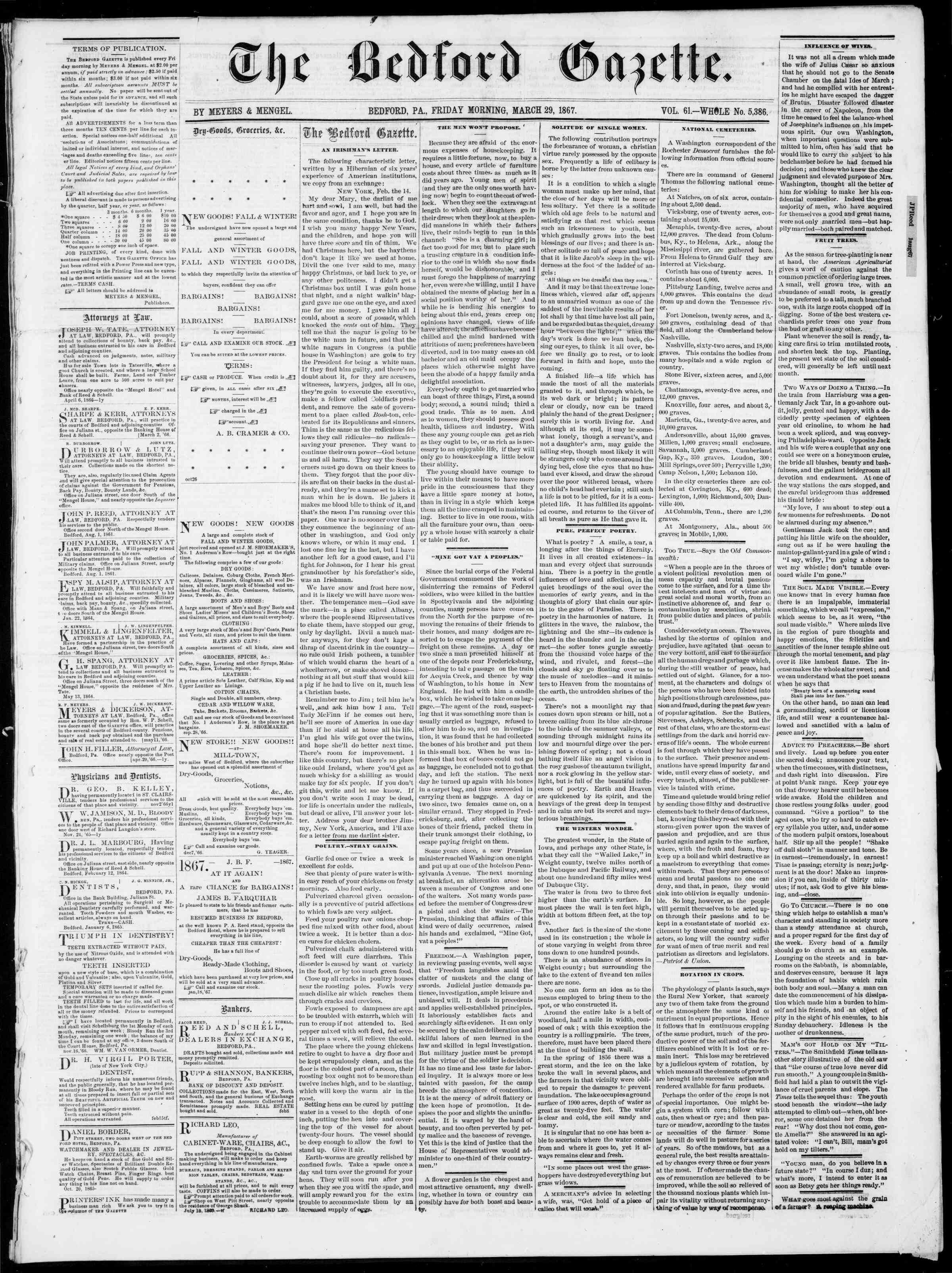 Newspaper of Bedford Gazette dated March 29, 1867 Page 1