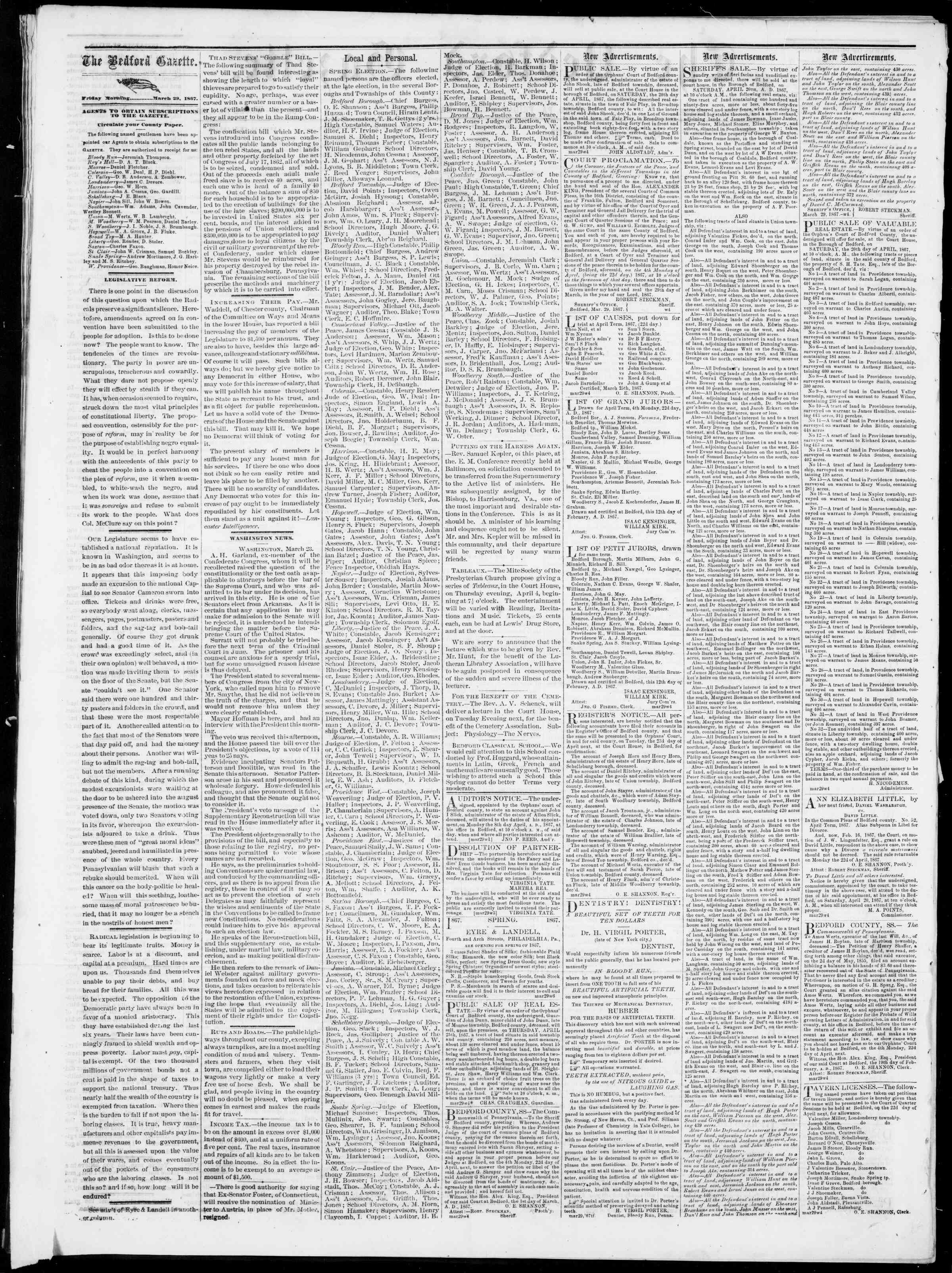 Newspaper of Bedford Gazette dated March 29, 1867 Page 2