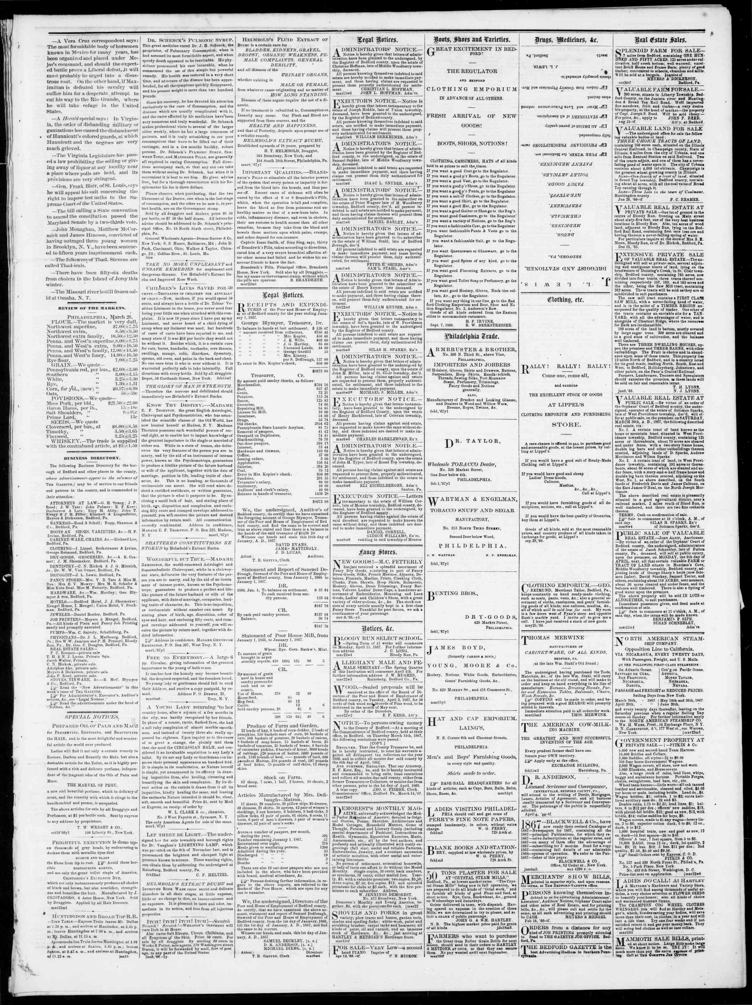 Newspaper of Bedford Gazette dated March 29, 1867 Page 3