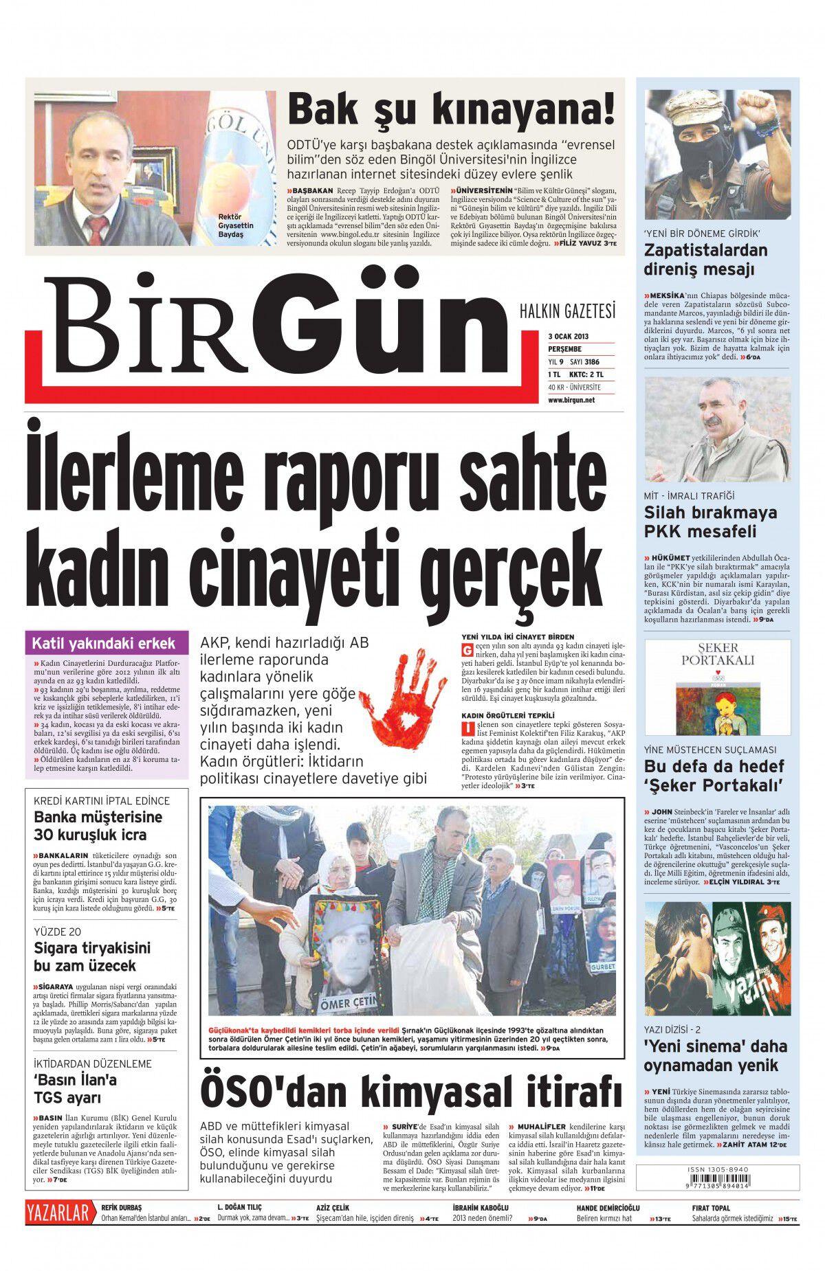 3 Ocak 2013 tarihli Birgün Gazetesi Sayfa 1