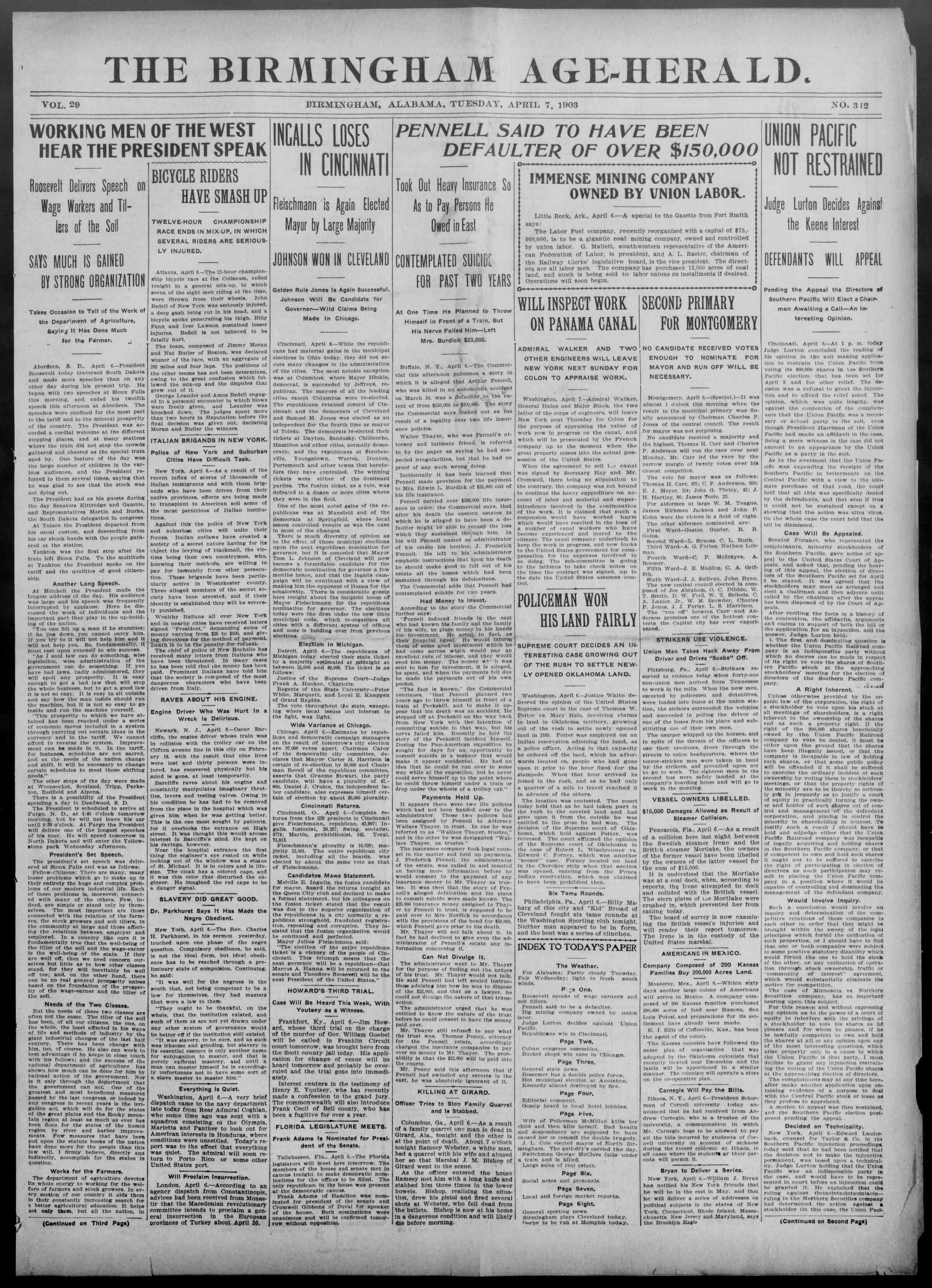 7 Nisan 1903 Tarihli Birmingham Age Herald Gazetesi Sayfa 1