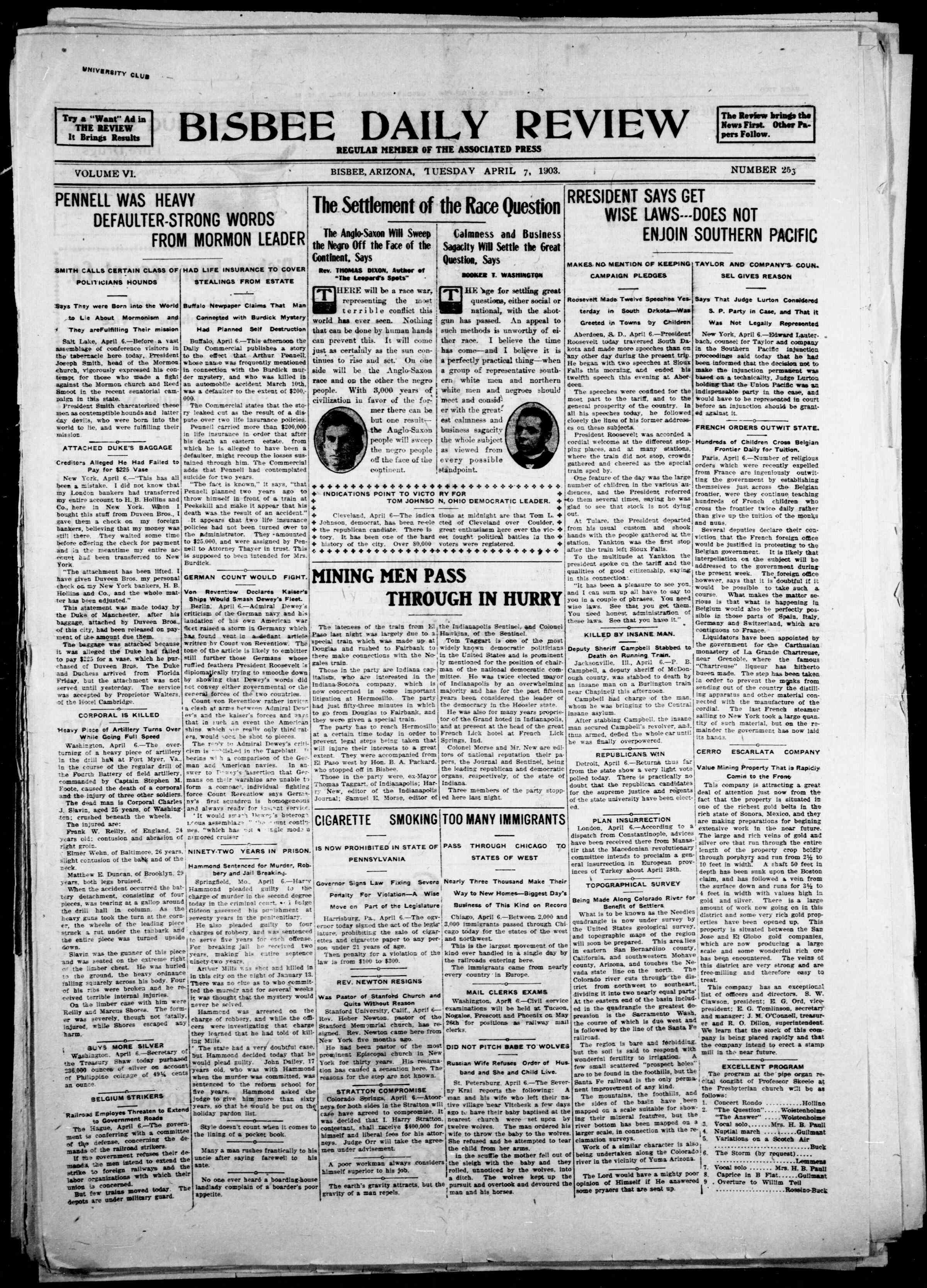 7 Nisan 1903 Tarihli Bisbee Daily Review Gazetesi Sayfa 1