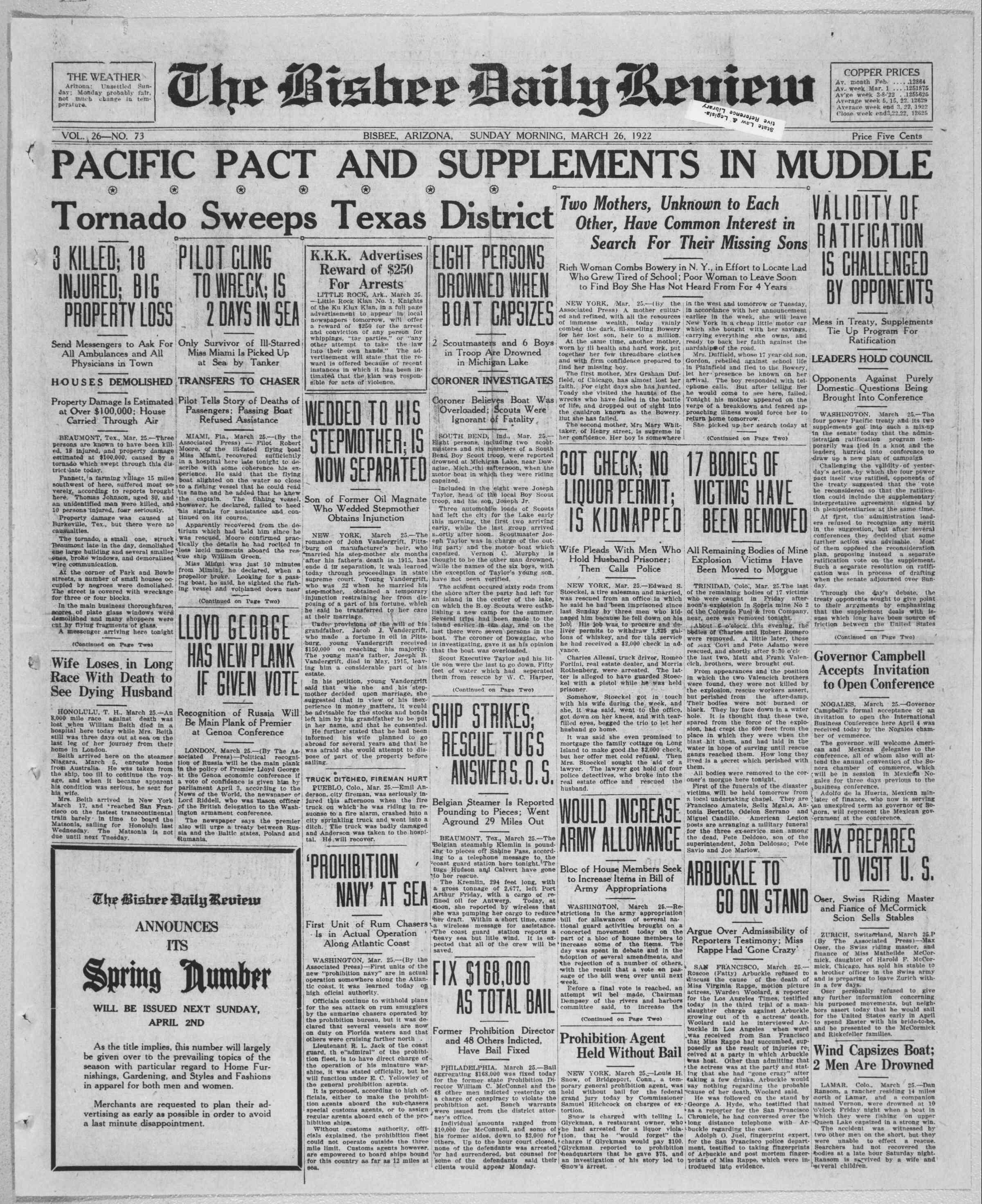 26 Mart 1922 tarihli Bisbee Daily Review Gazetesi Sayfa 1