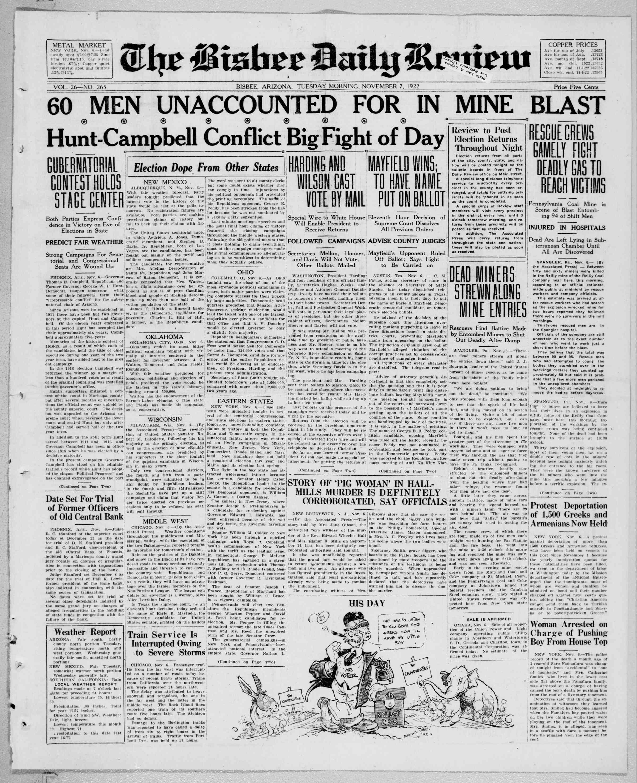 7 Kasım 1922 tarihli Bisbee Daily Review Gazetesi Sayfa 1