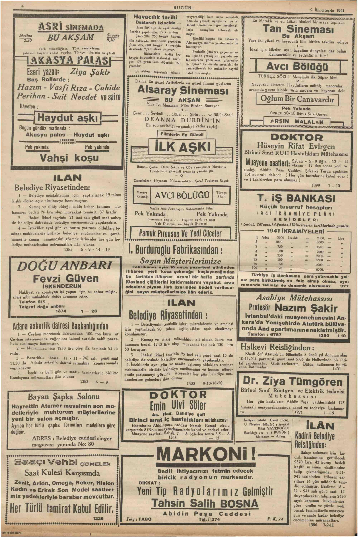 9 Kasım 1941 Tarihli Bugün Gazetesi Sayfa 4